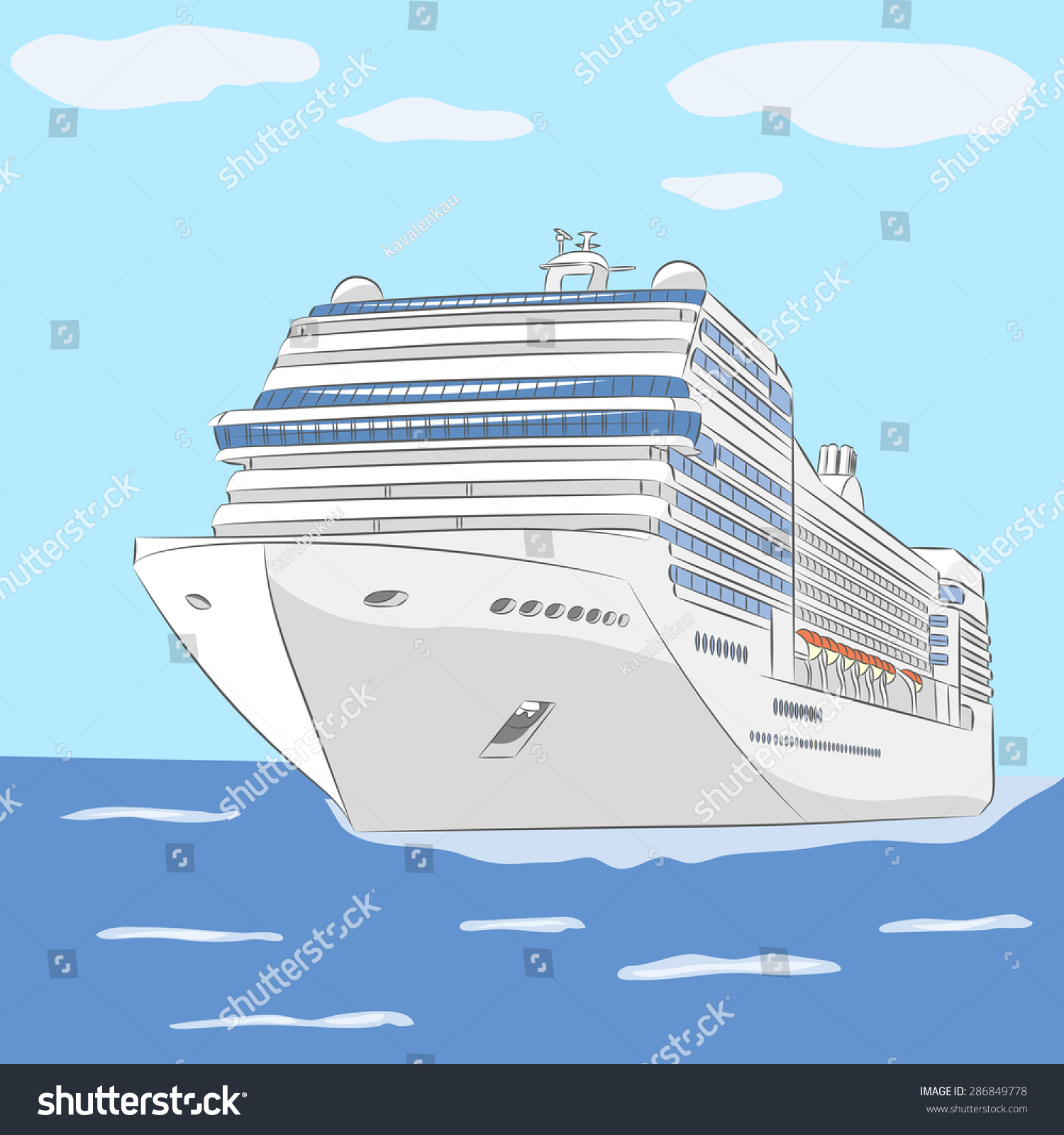 White Cruise Ship Ocean Background Sky Stock Vector HD (Royalty Free ...