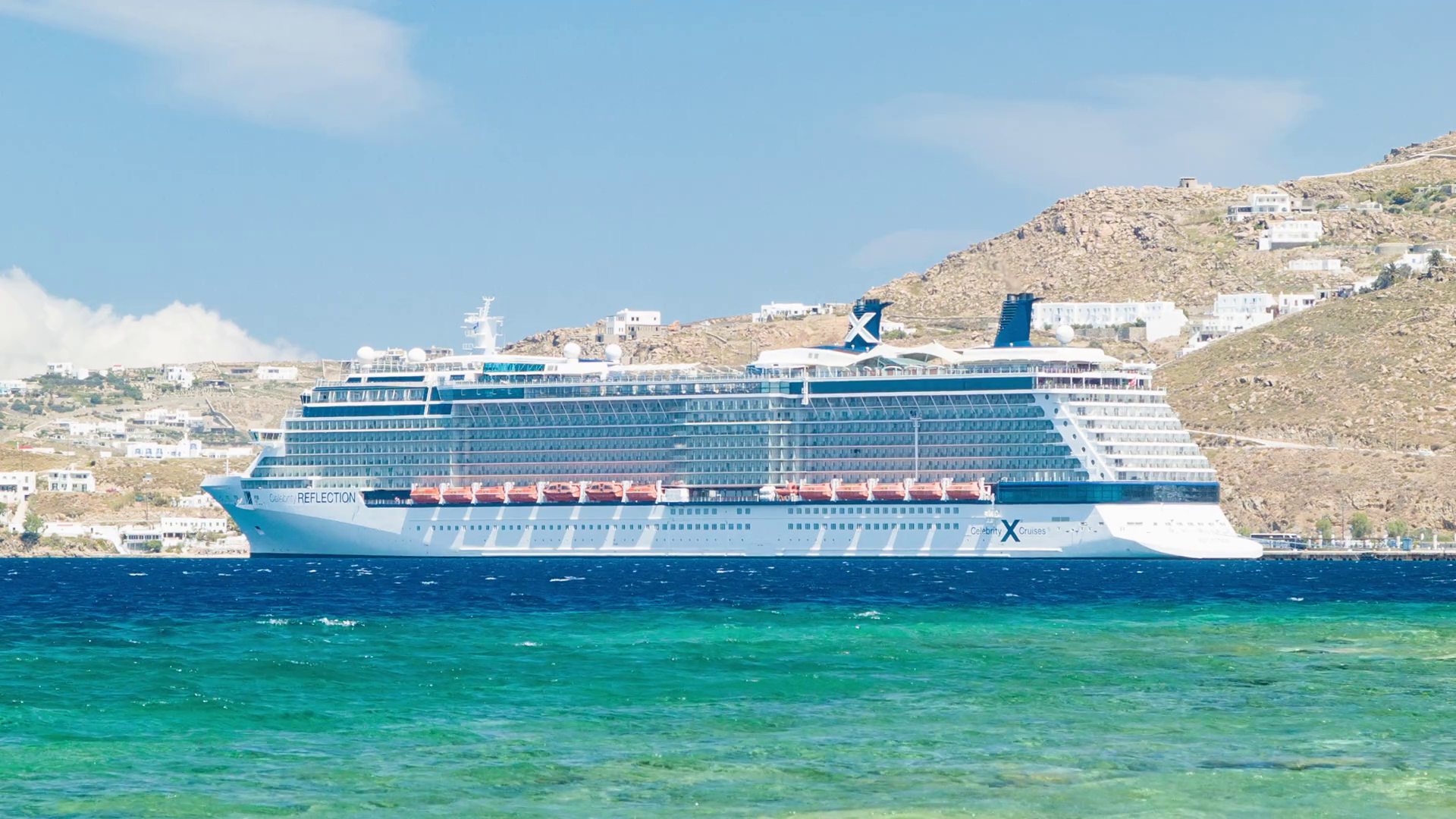 Celebrity Reflection Cruise Ship Docked in Mykonos Greece on a Sunny ...