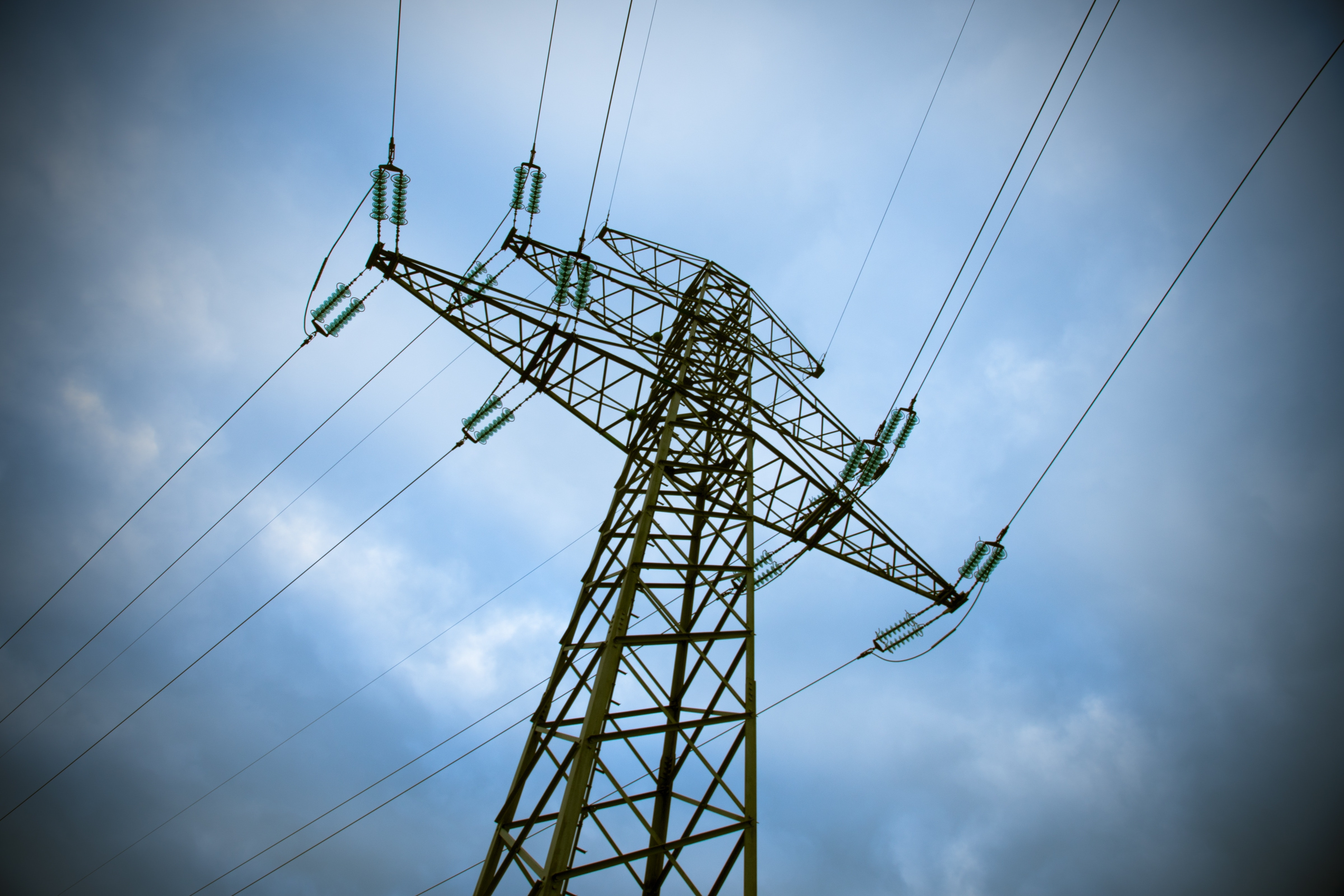White Electric Tower, Blue, Power lines, Voltage, Utility pole, HQ Photo