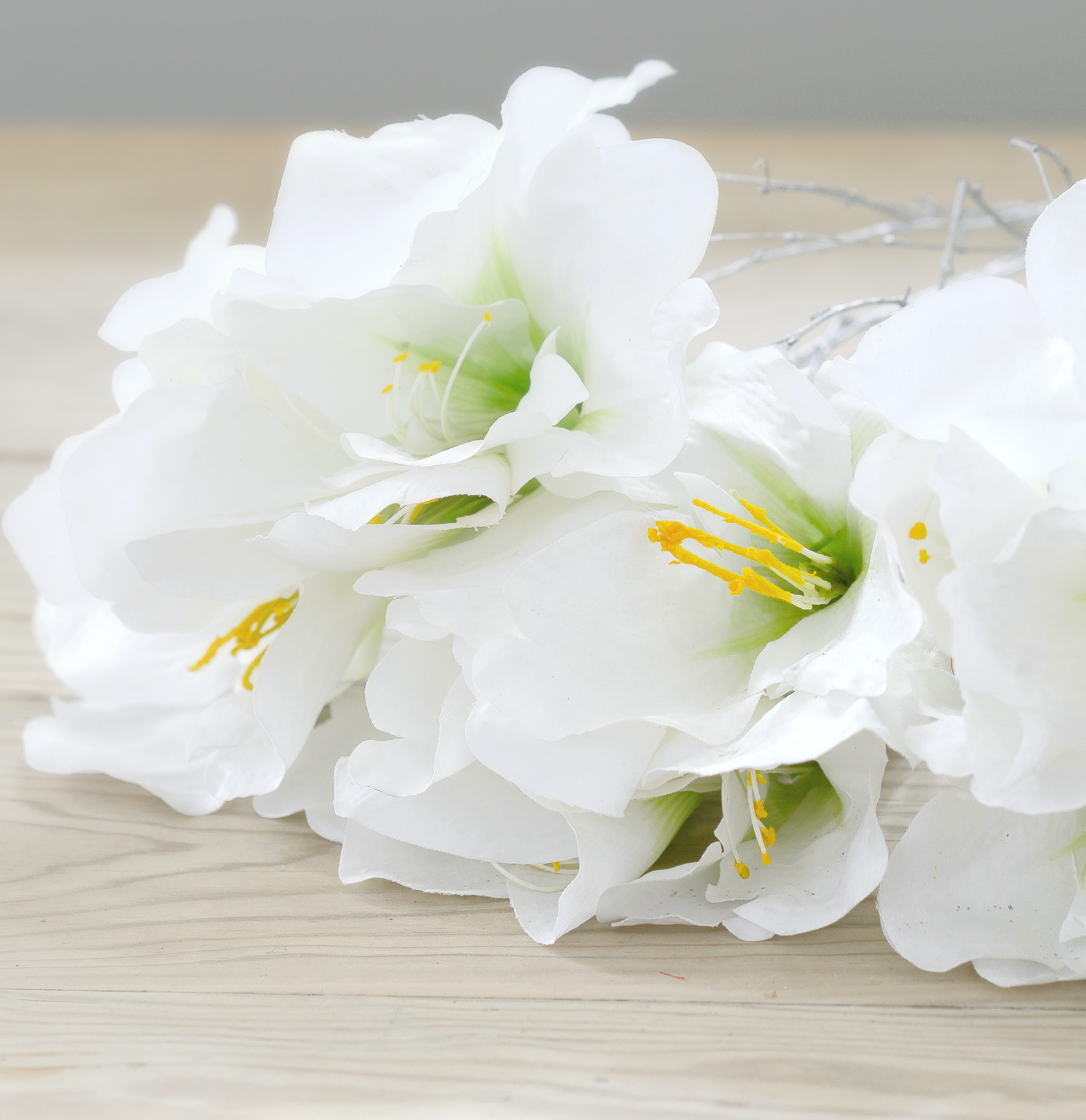 Faux Flower ~ Artificial White Amaryllis Bunch | Flower Studio Shop