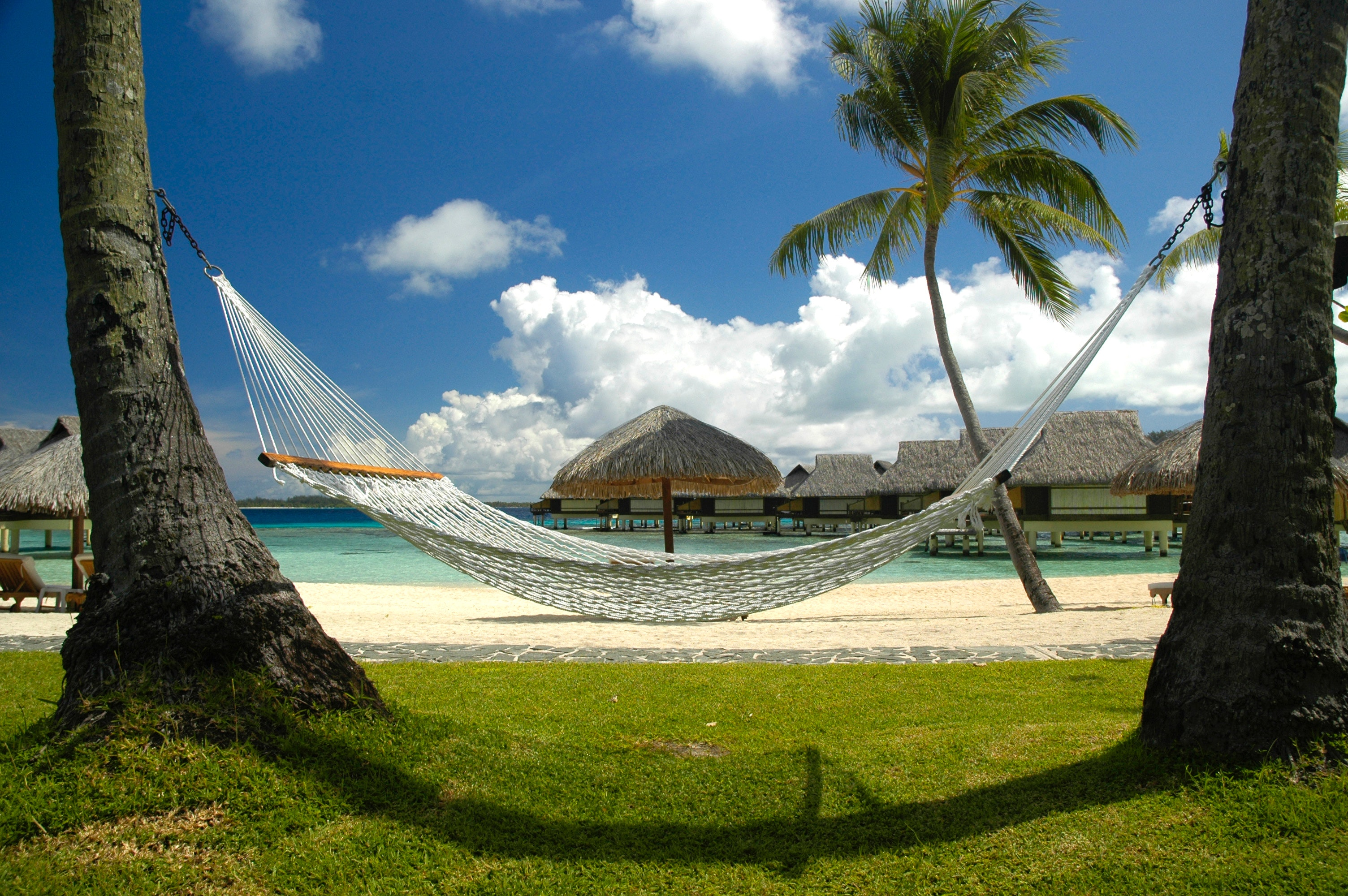 White Hammock on the Beach, Beach, Bungalows, Clouds, Hammock, HQ Photo