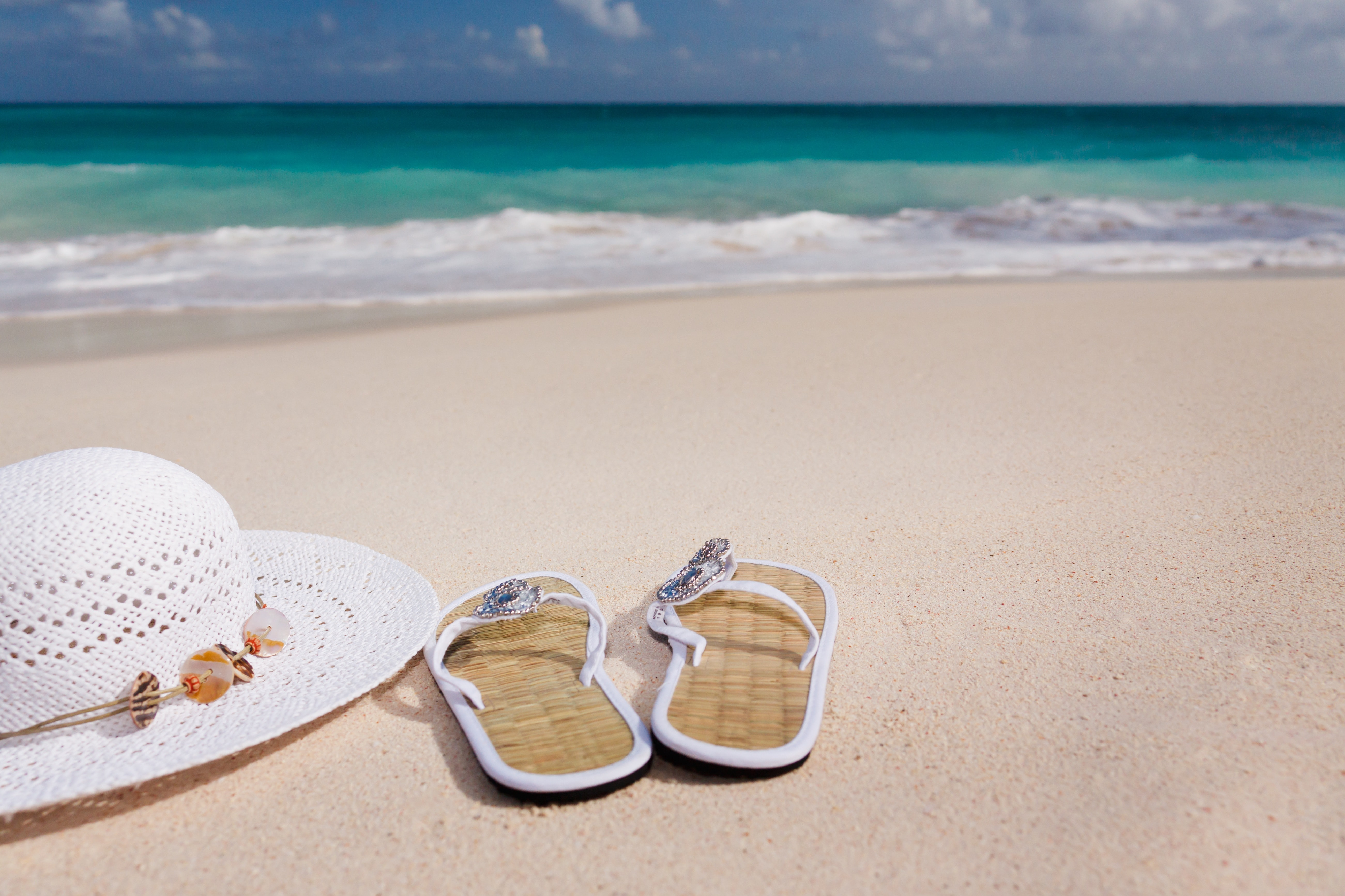 White Hat Beside White Flip Flops Near Short, Beach, Coast, Flip-flops, Hat, HQ Photo
