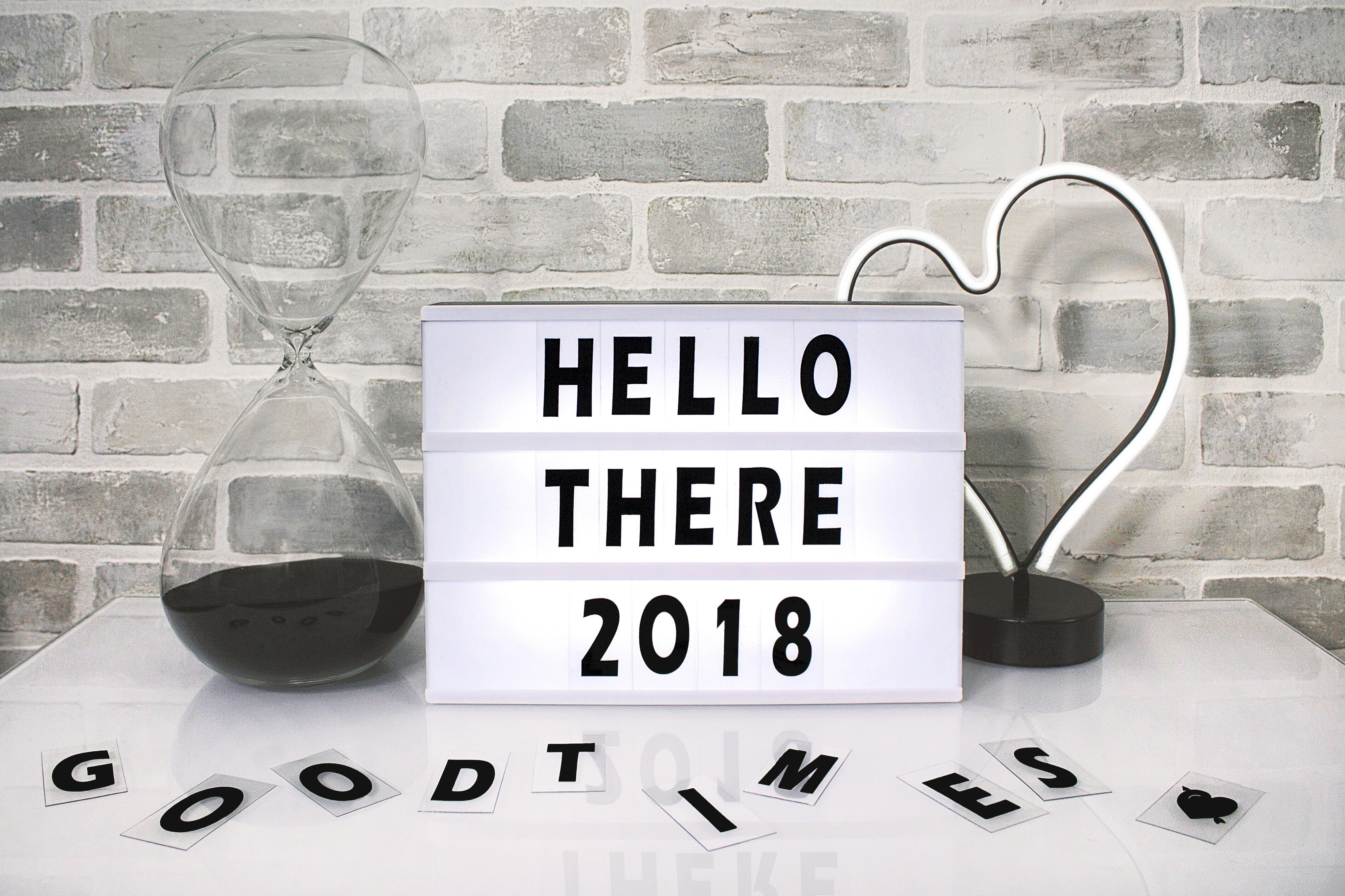 White hello there 2018 printed board against gray wall photo