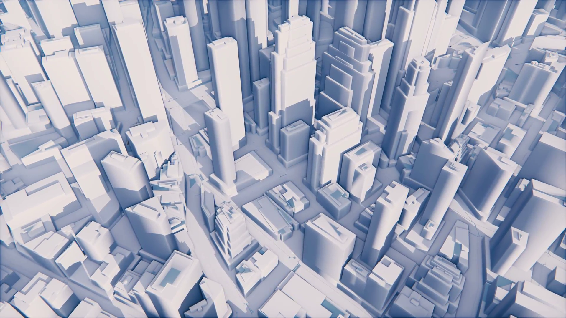 Abstract white 3D scale model of modern city with high rise ...