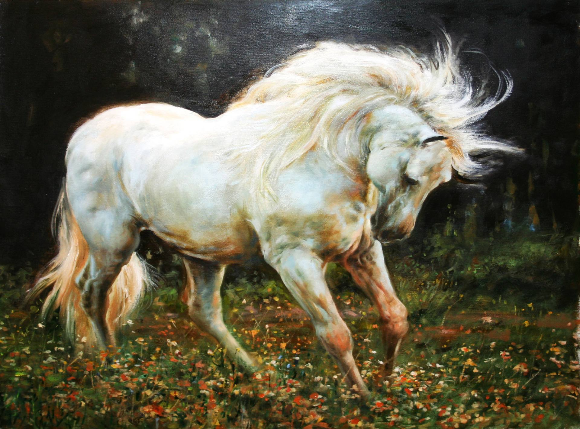 Free Photo White Horse Painting Animal Brushed Farm Free Download Jooinn