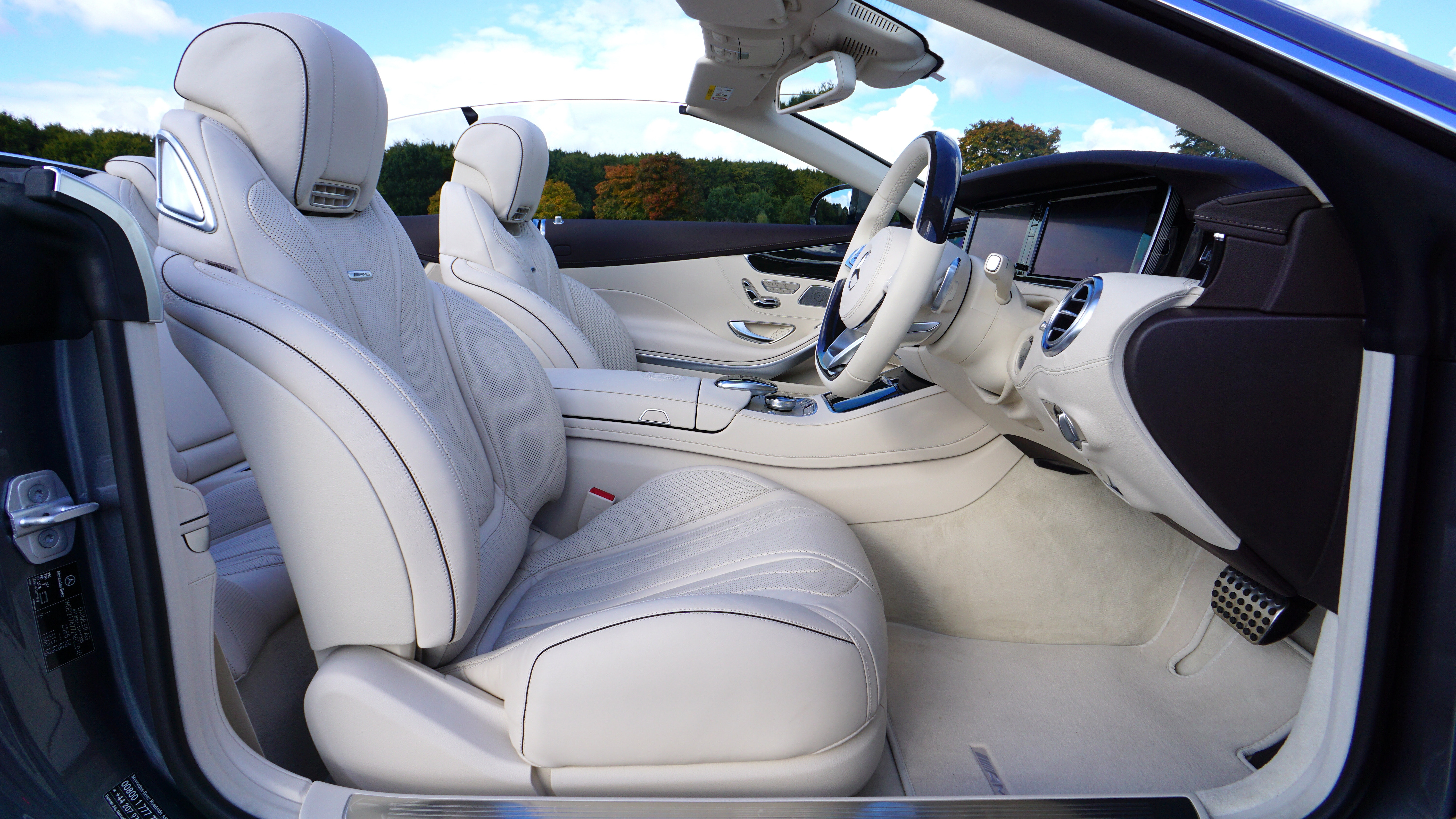 White leather bucket car seat photo