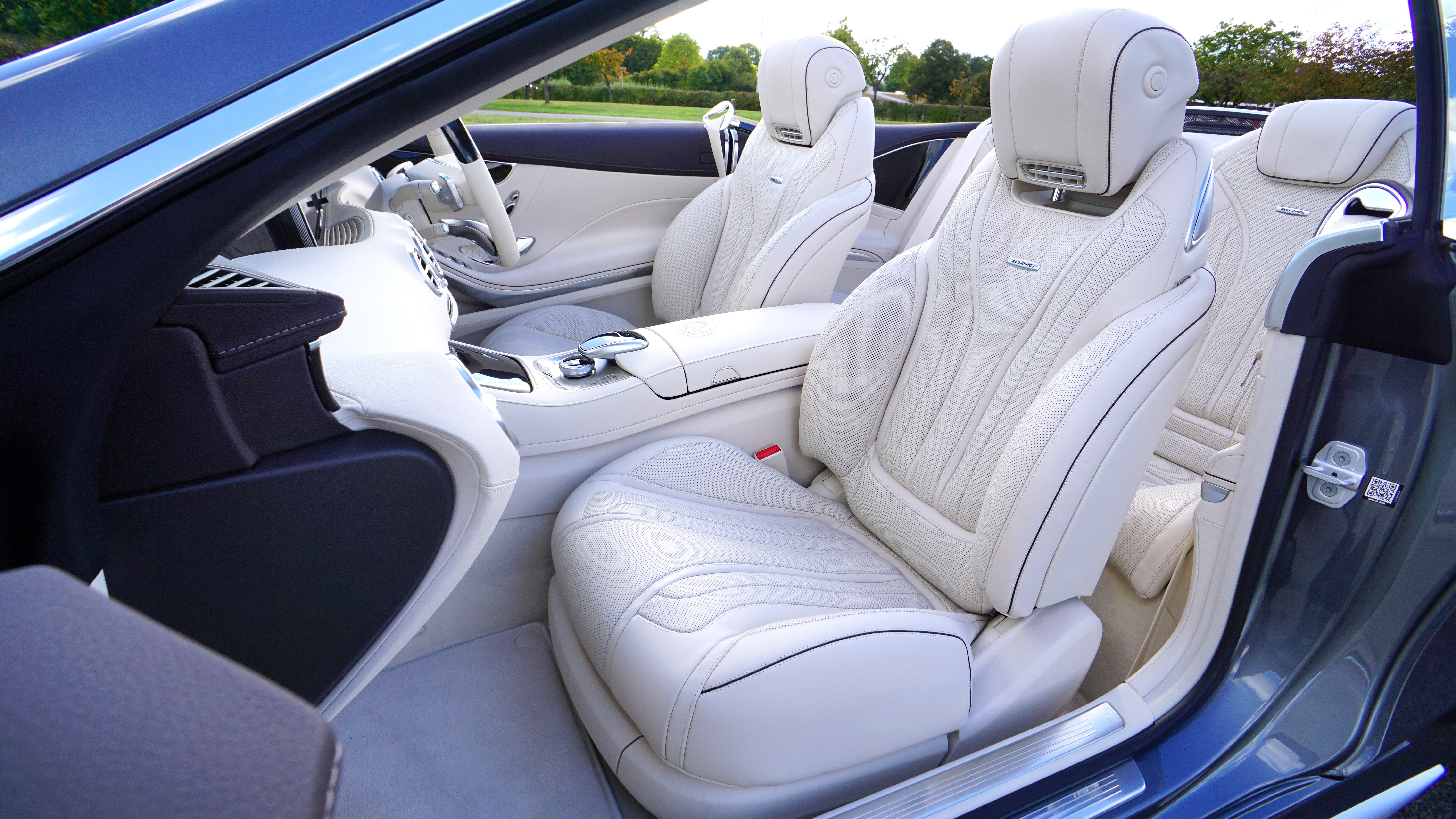 White leather car bucket seat photo