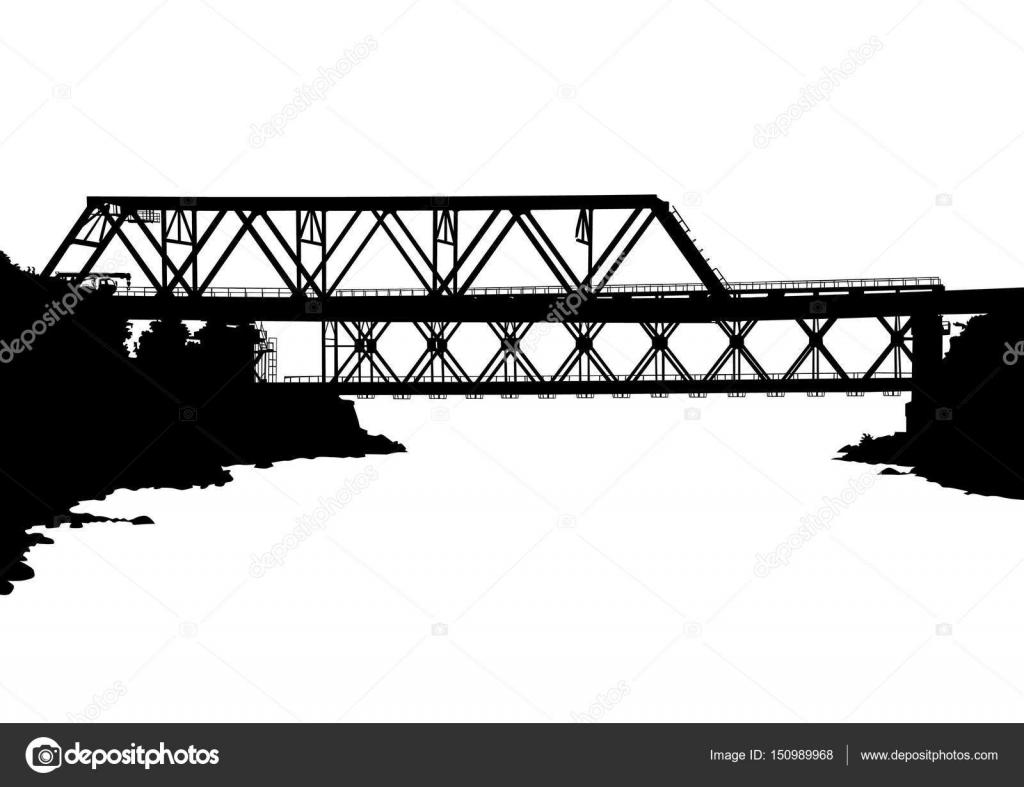 Modern metal bridge one — Stock Vector © grynold #150989968