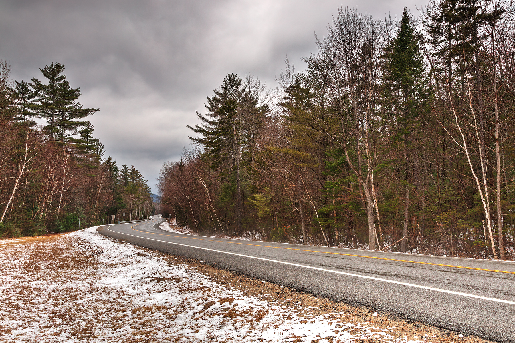 White mountain winter road - hdr photo
