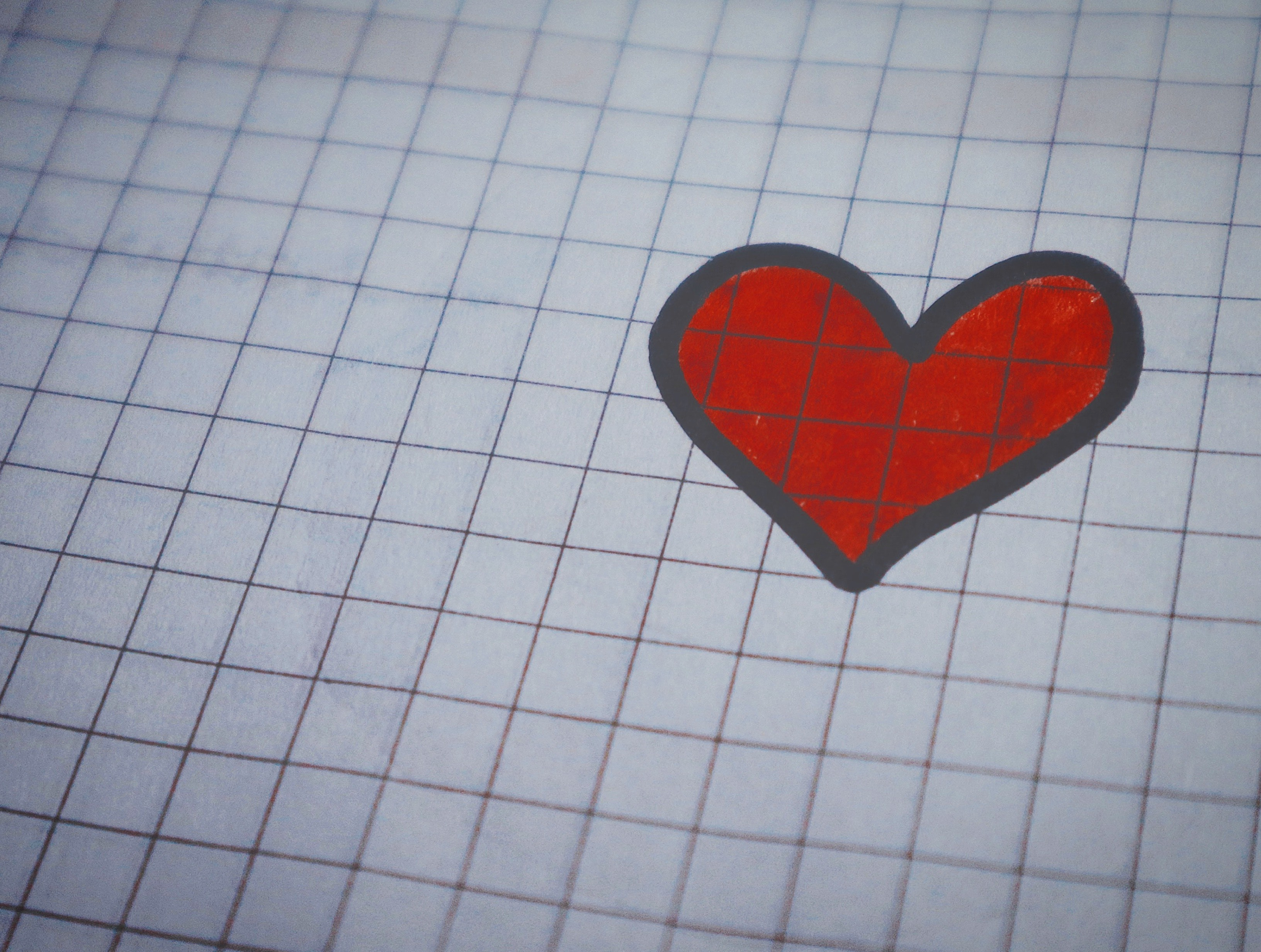 White Page of Graphing Paper With Red Heart Drawing, Art, Card, Close-up, Color, HQ Photo