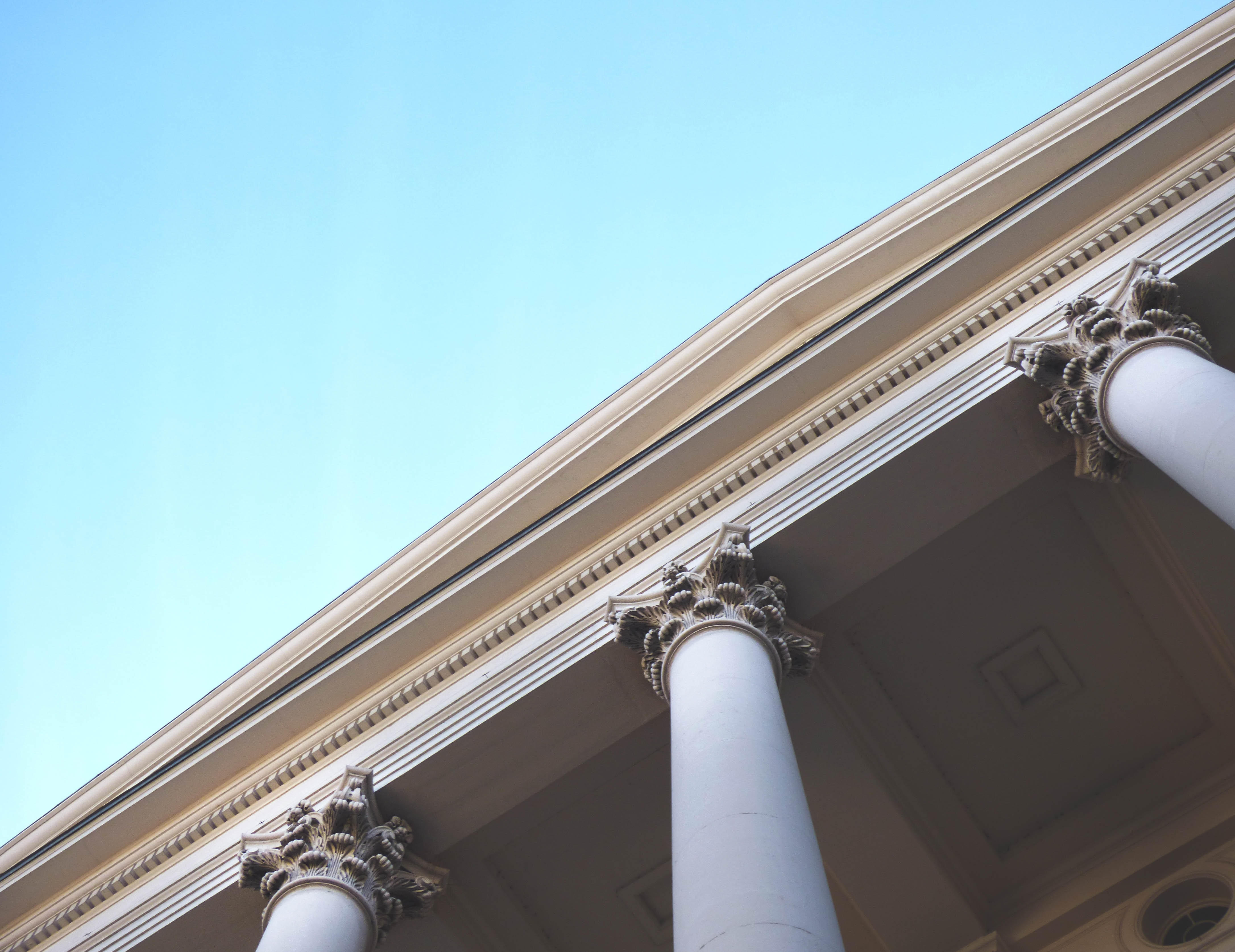 White Painted Pillars, Architectural design, Architecture, Blue sky, Building, HQ Photo