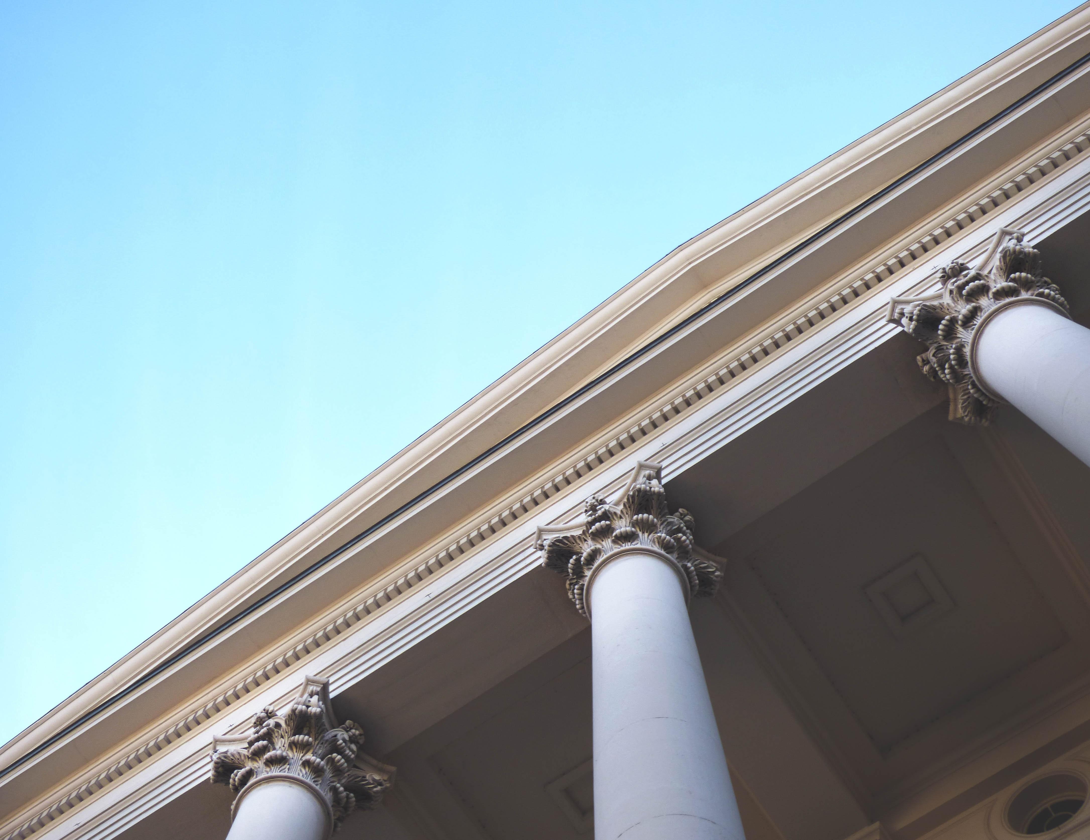 White Painted Pillars, Architectural design, Architecture, Blue sky, Building, HQ Photo