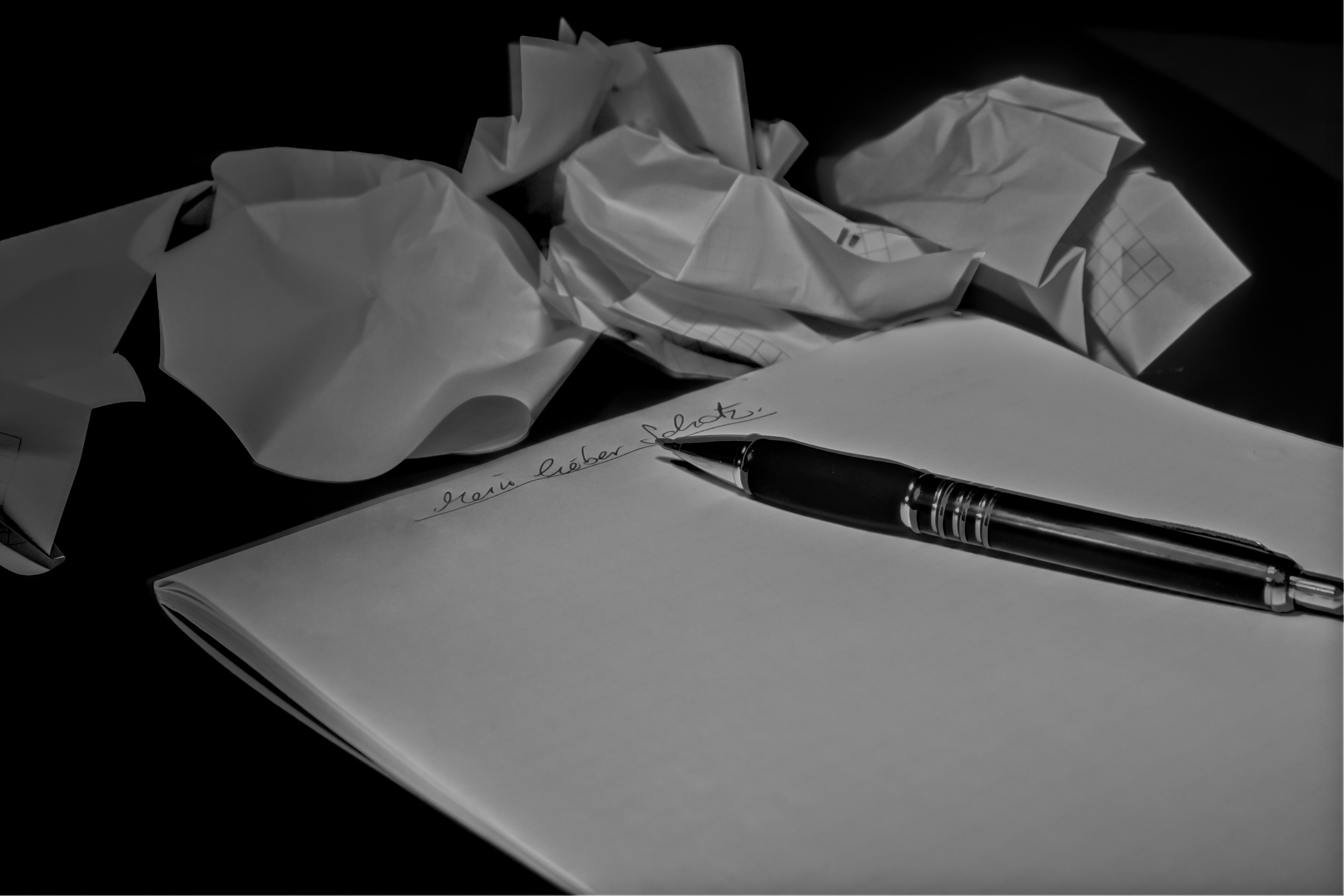 White Printer Paper With Black and Silver Gel Pen on Top, Black-and-white, Notepad, Paper, Pen, HQ Photo