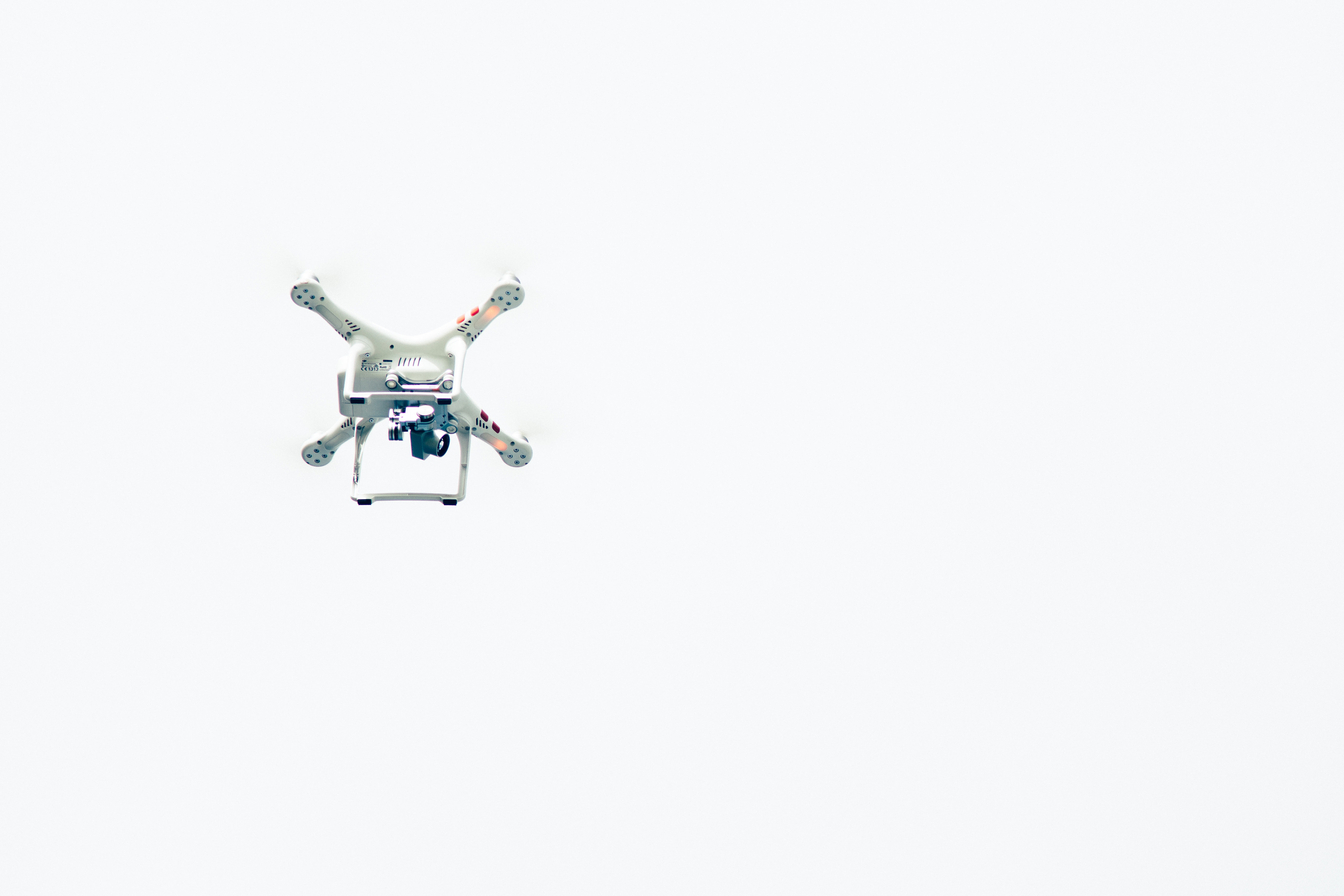 White quadcopter photo