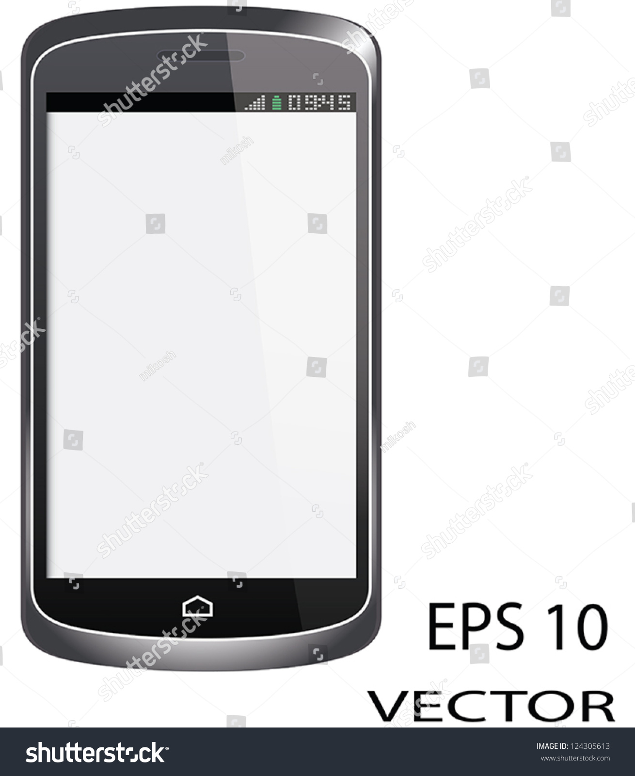 Touch Screen Cell Phone White Screen Stock Vector 124305613 ...