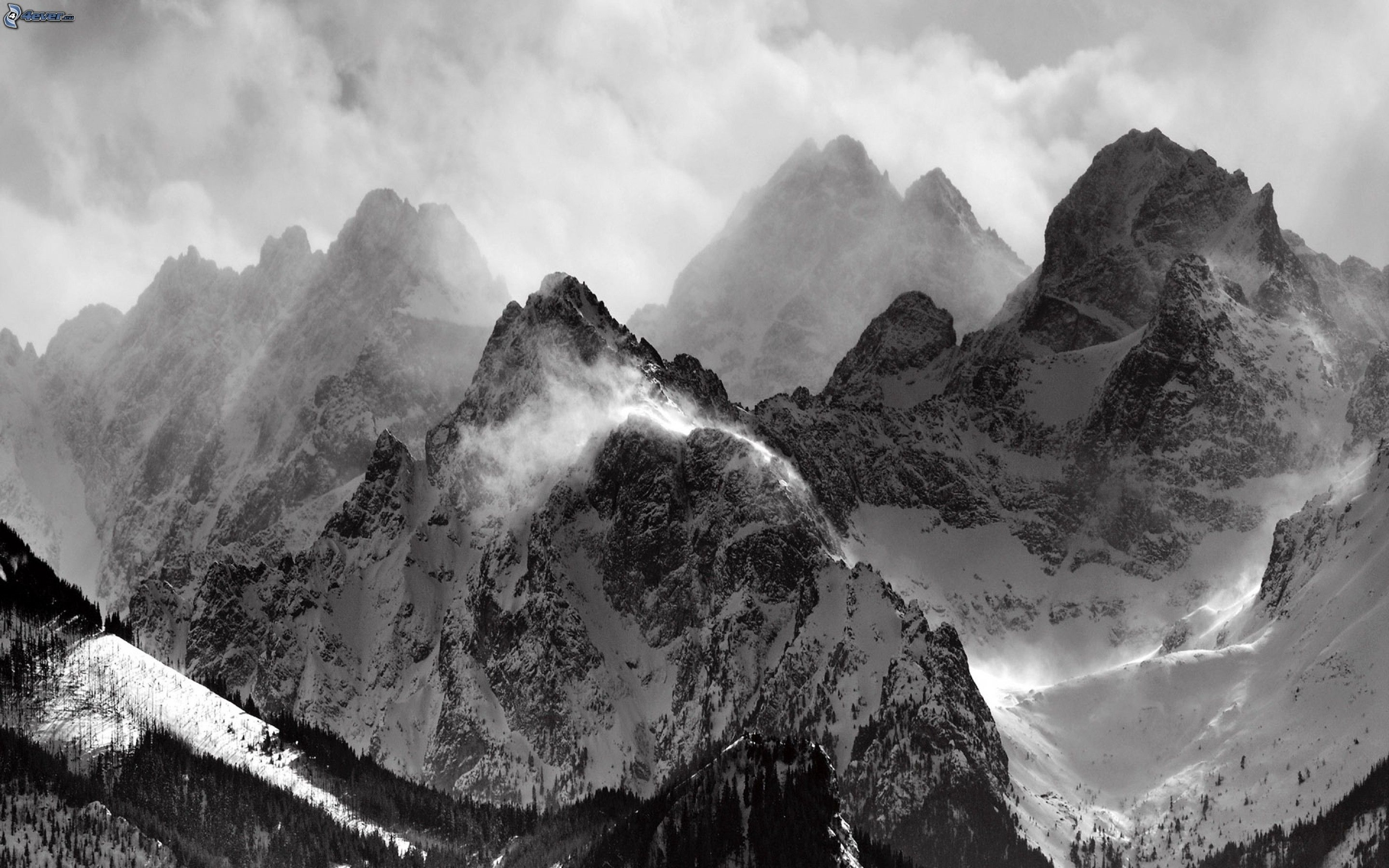 Snowy Mountains, Clouds, Black And White 194537 : Wallpapers13.com