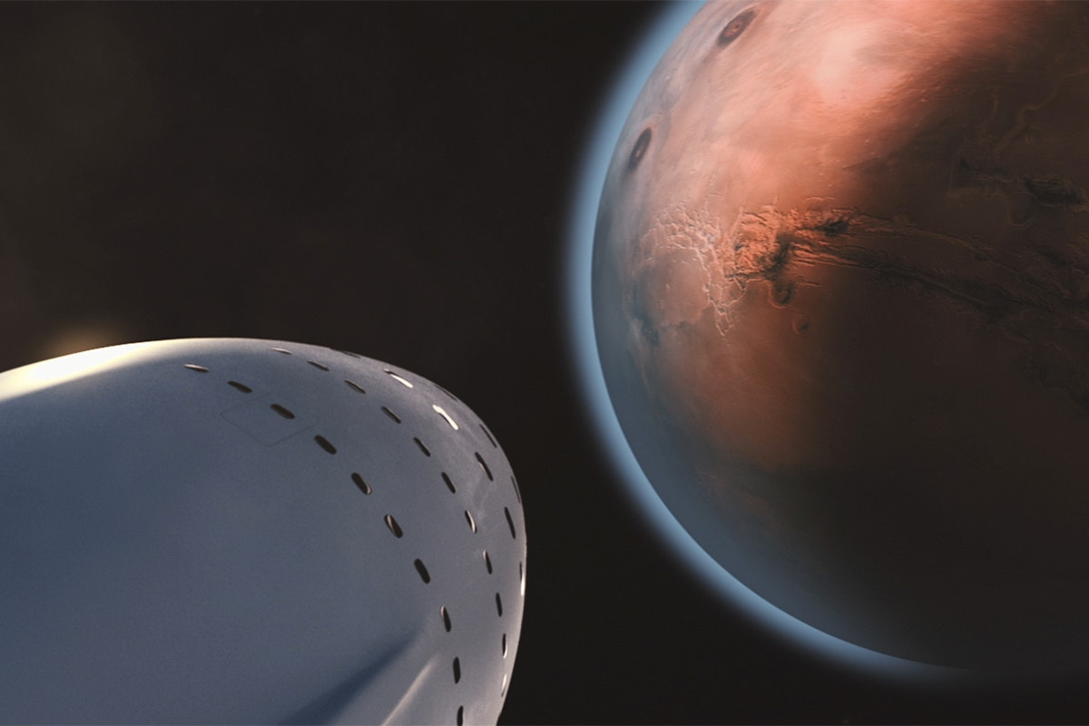 White space ship and brown planet photo