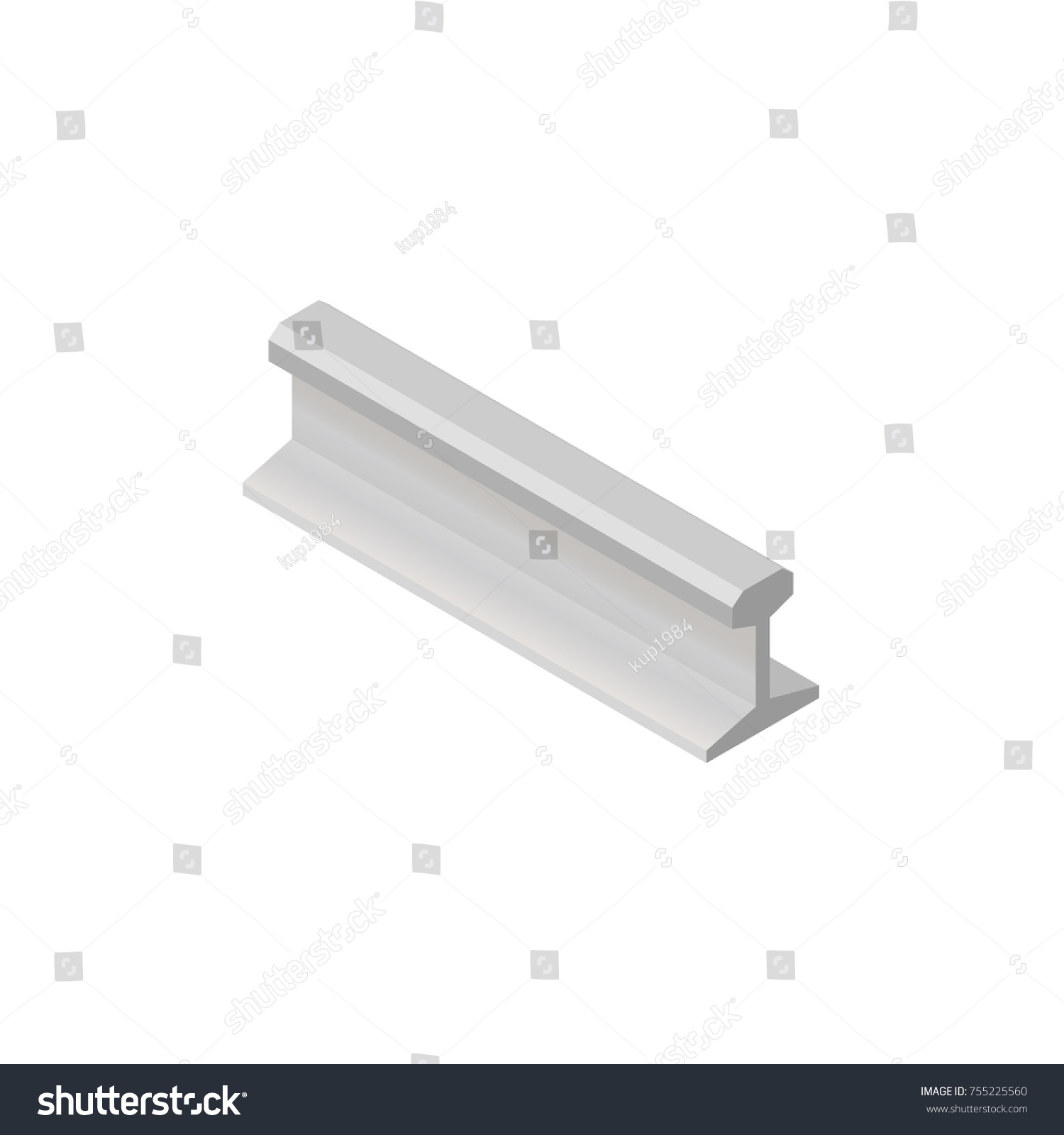 Steel Rails Isolated On White Background Stock Illustration ...