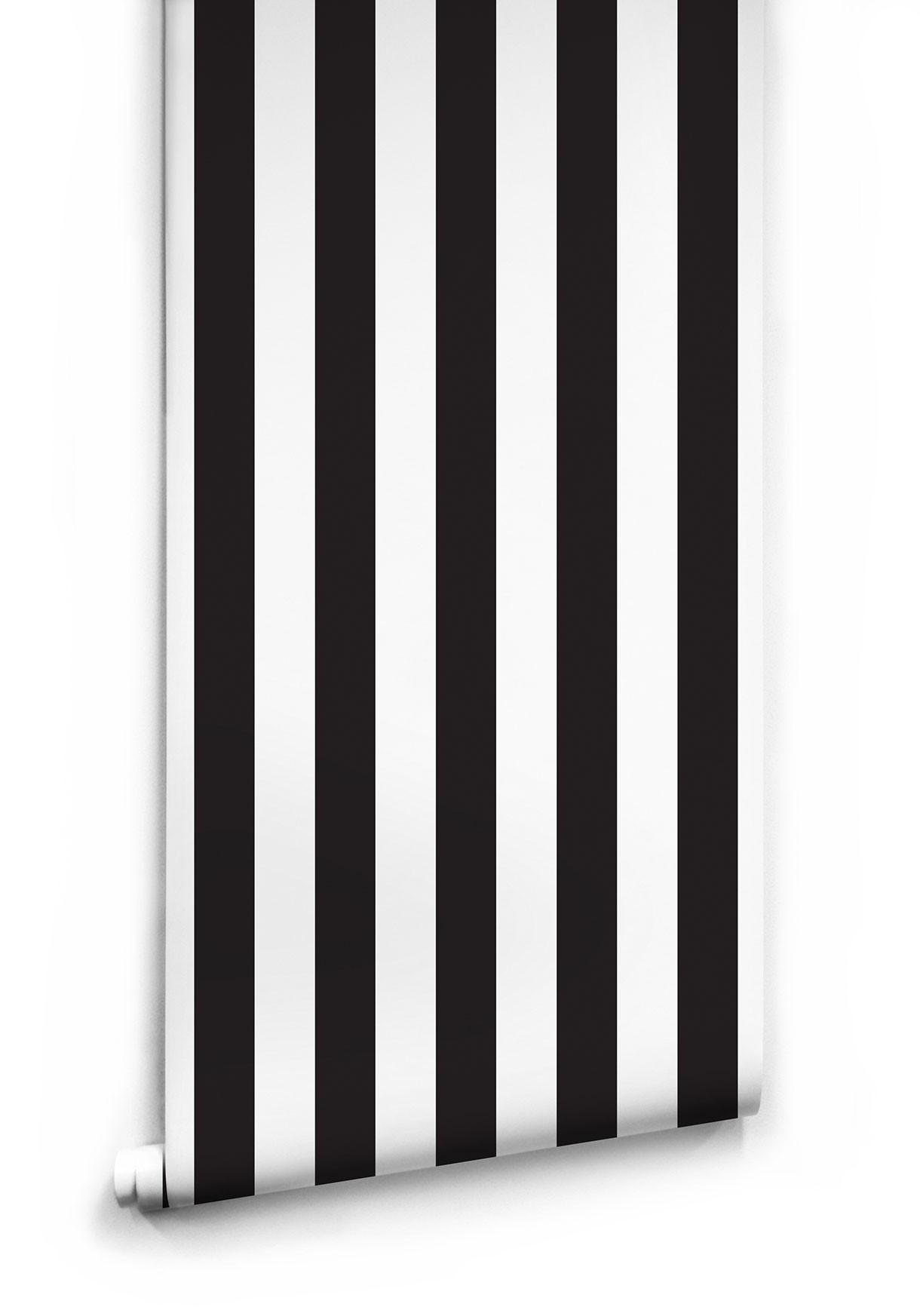 Luxury Black & White Stripe Wallpaper | Milton & King