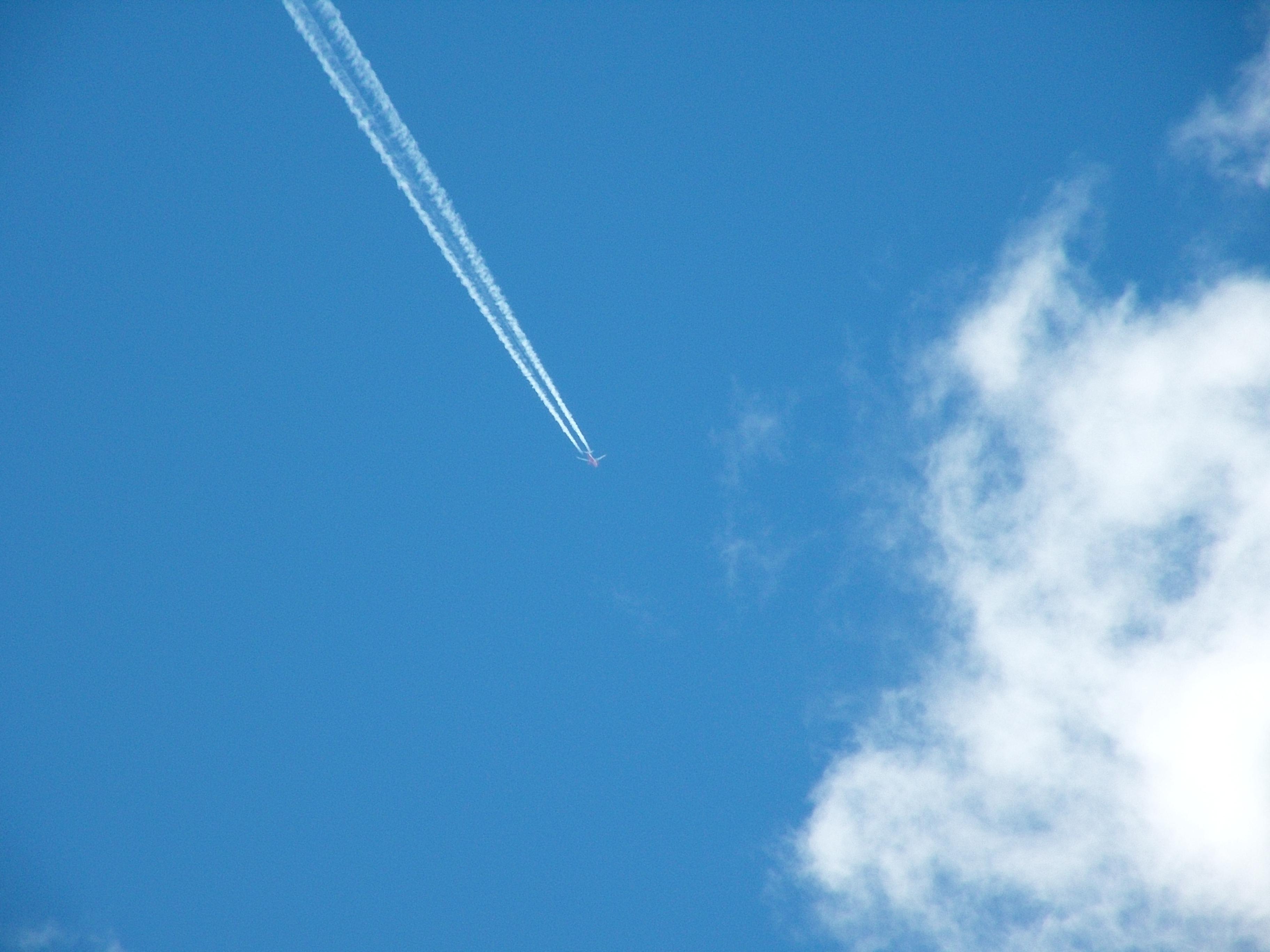 White stripe, Aerial, Airplane, Blue, Clouds, HQ Photo