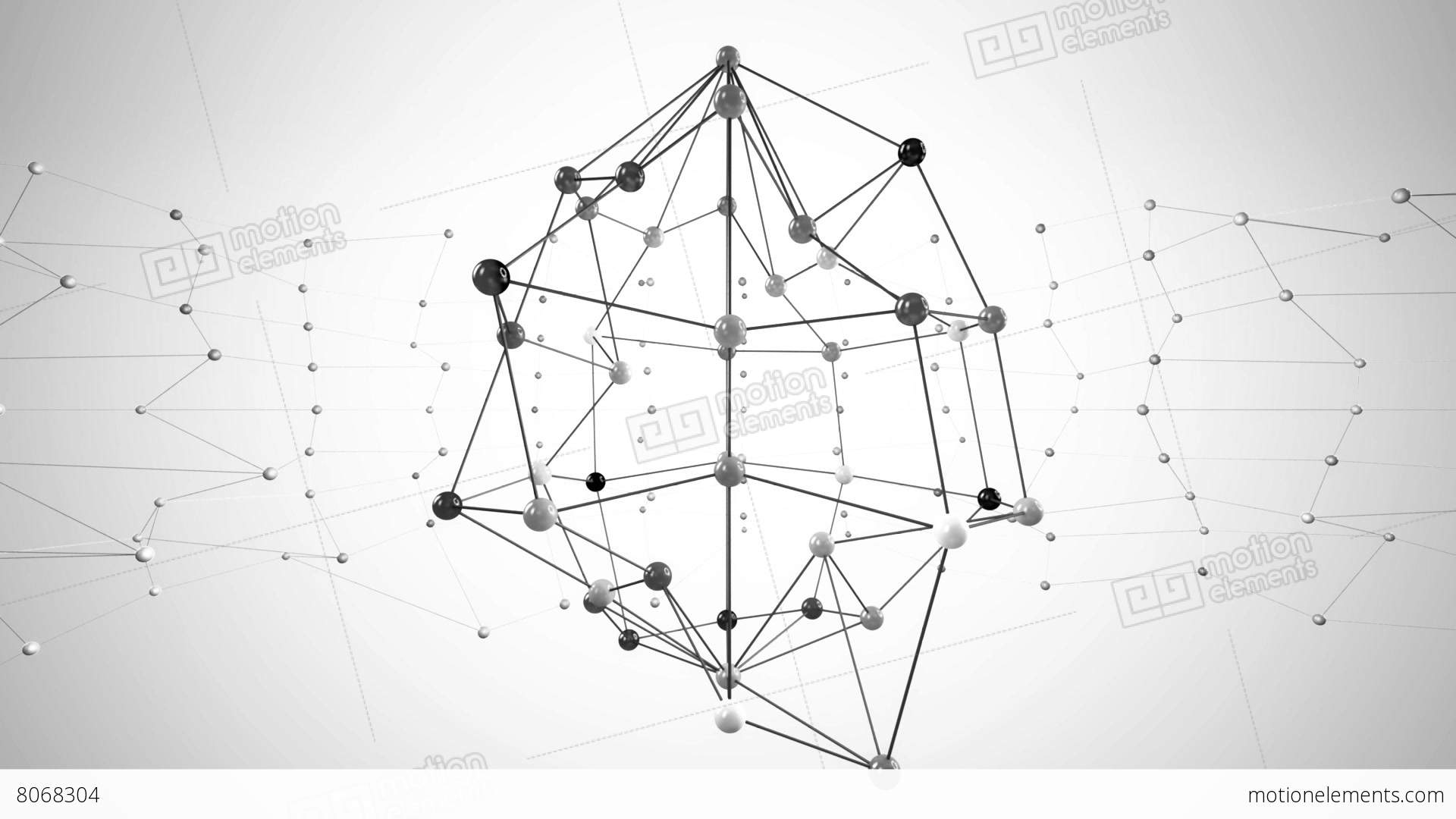 Network Structure Black And White Stock Animation | 8068304