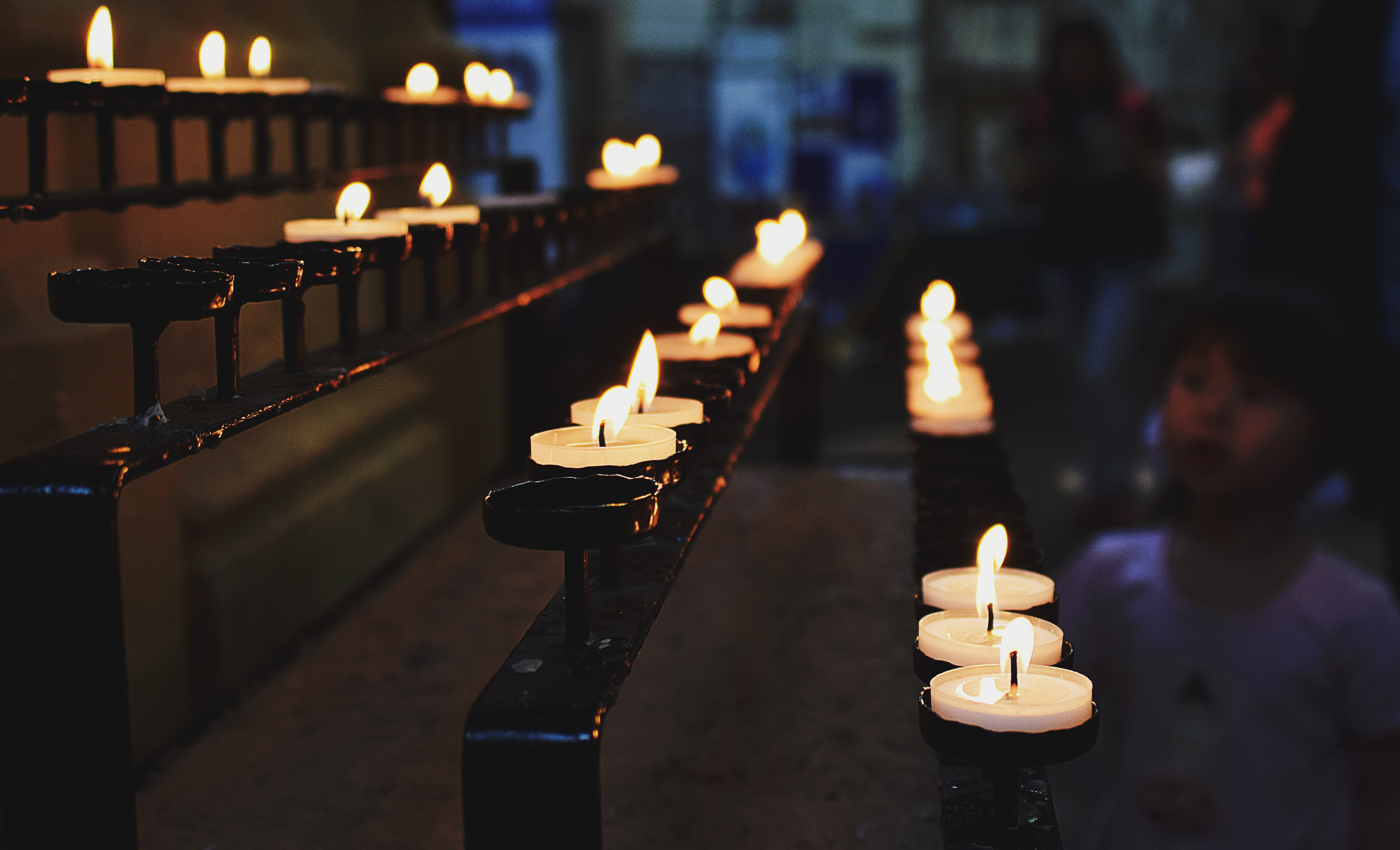 White Tealight Candles Lit during Nighttime, Adult, Group, Room, Religion, HQ Photo