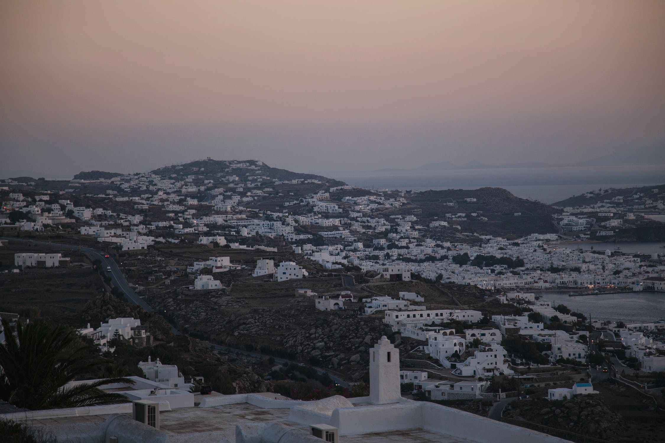 White town at sunset time photo