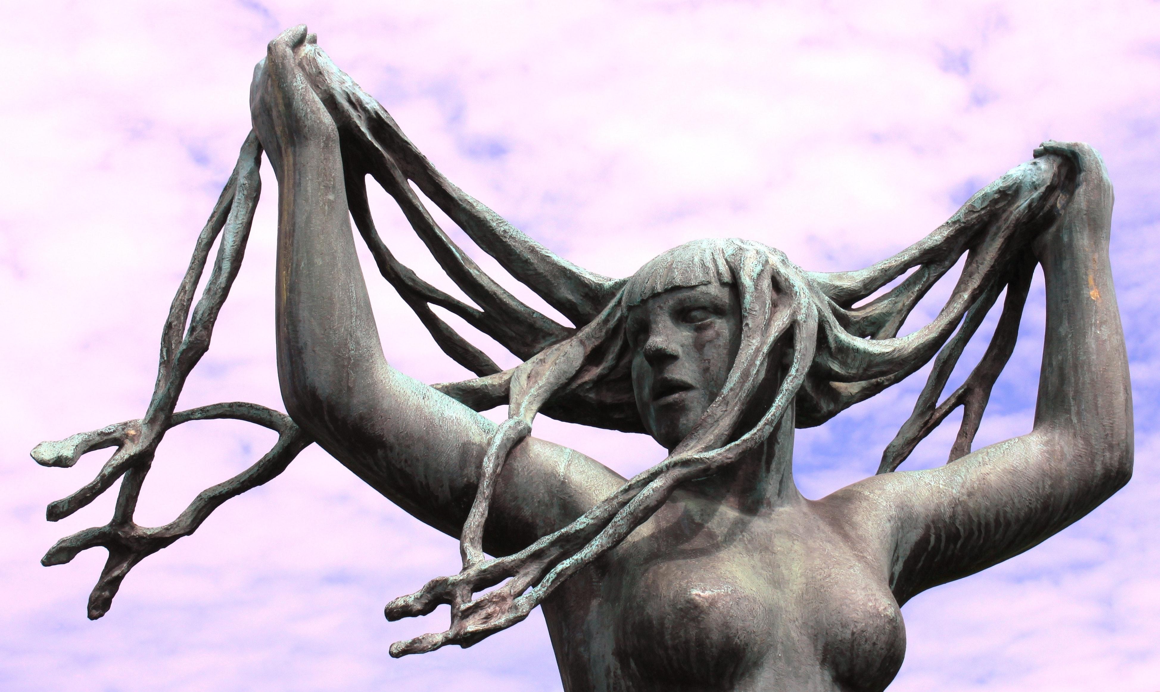 White Women Rock Statue, Arms, Lady, Unique, Symbol, HQ Photo