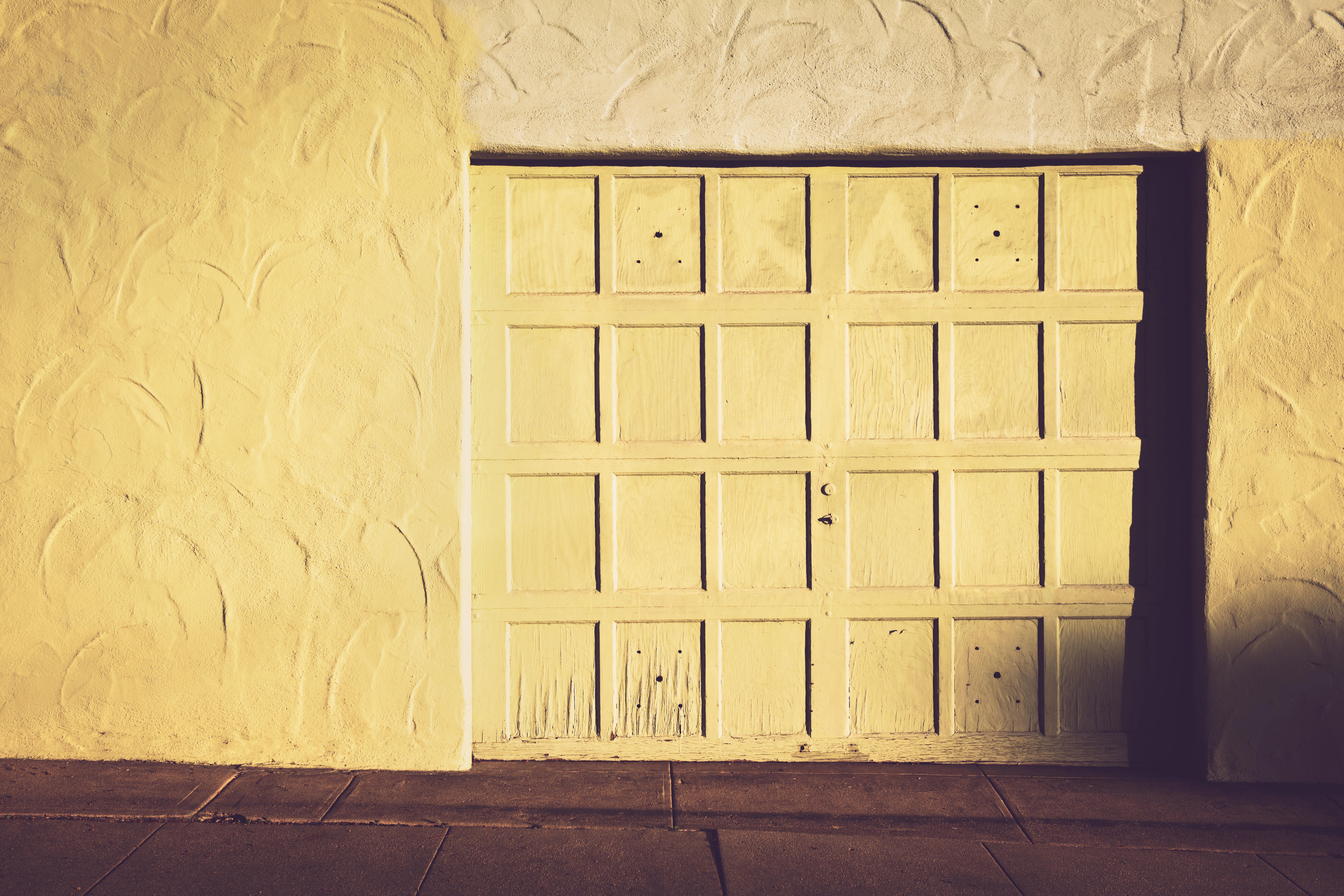 White Wooden Closed Door, Blank, Door, Garage, Pattern, HQ Photo