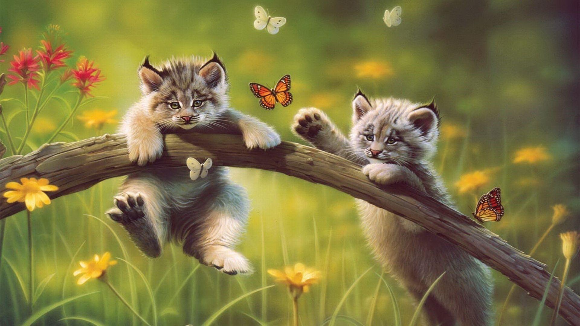 Wild Cats - Painting Art Wallpaper | Wallpaper Studio 10 | Tens of ...