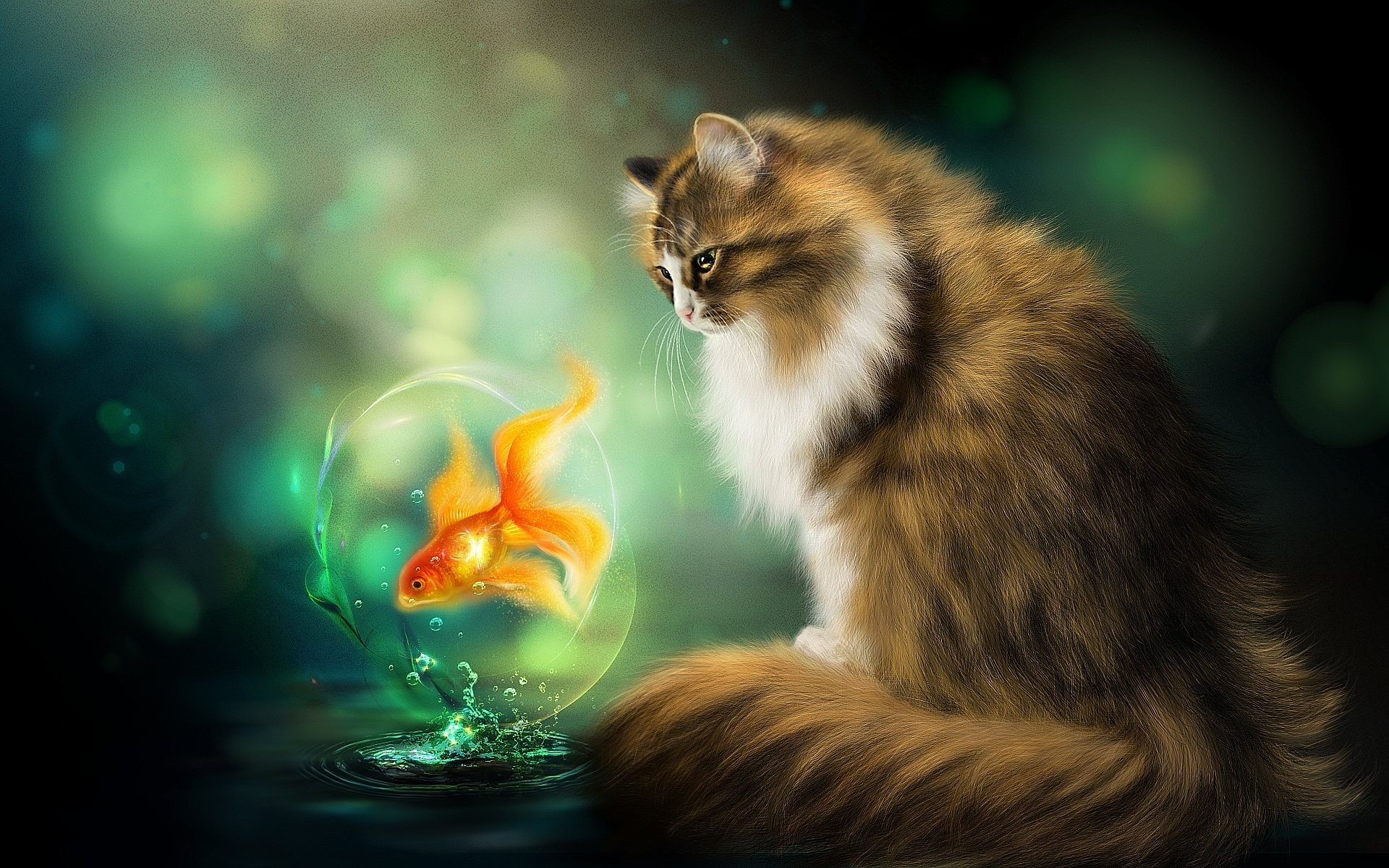 Cats Fantasy Fish Painting Art Animals Photos Wild Cat ~ Cats for HD ...