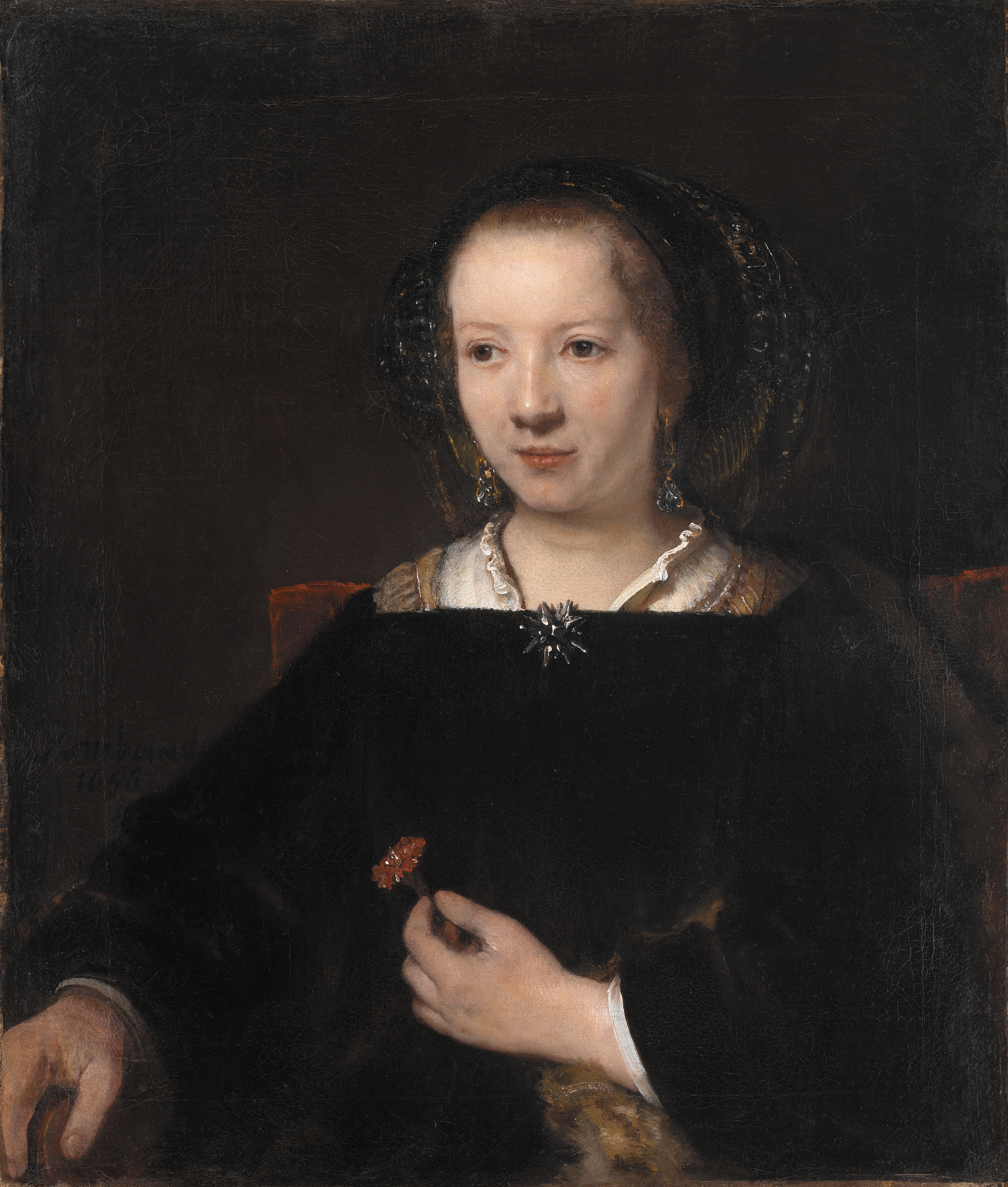 Willem Drost?, Rembrandts værksted (1633-58): Young Woman with a Carnation, 1656, KMS388, Carnation, Indoor, Monochrome, People, HQ Photo