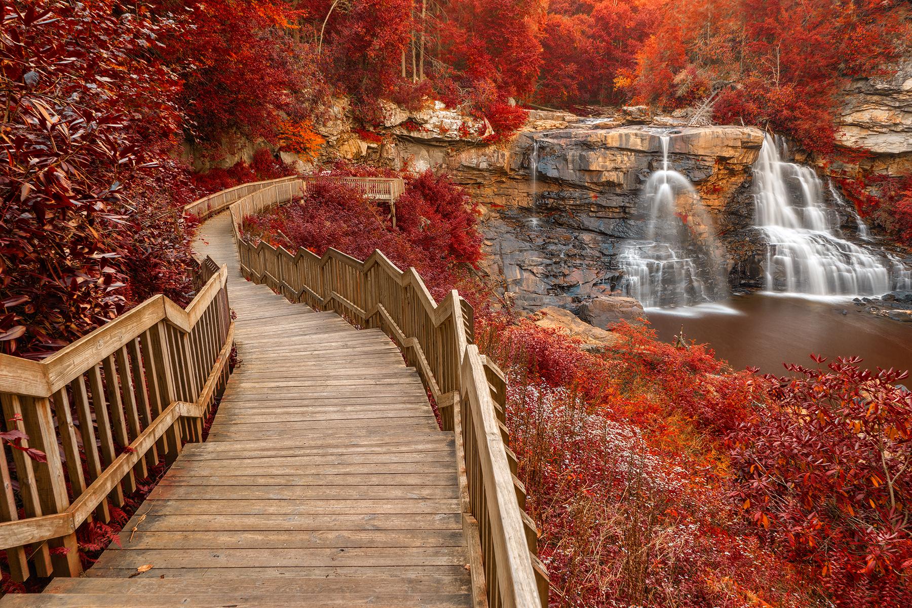 Winding blackwater falls - autumn fantasy hdr photo