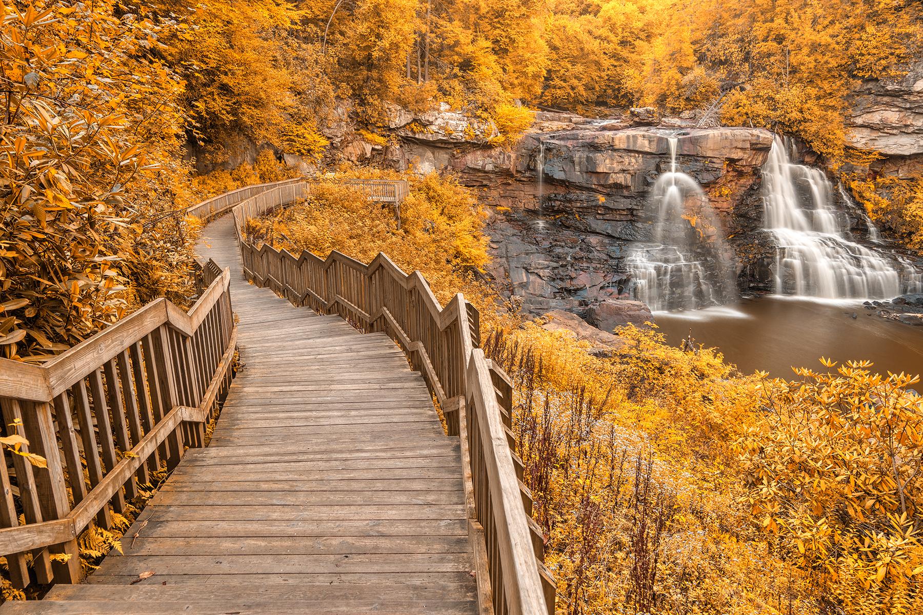 Winding blackwater falls - gold fantasy hdr photo