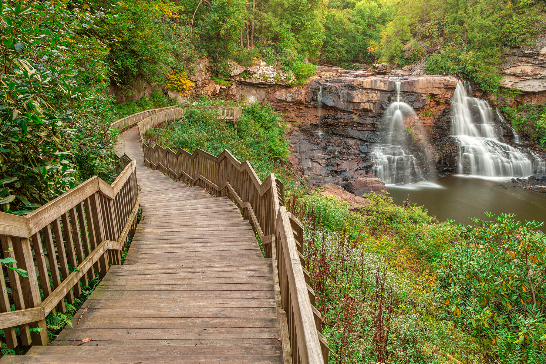 Winding Blackwater Falls - HDR, Adventure, Rocky, Step, States, HQ Photo