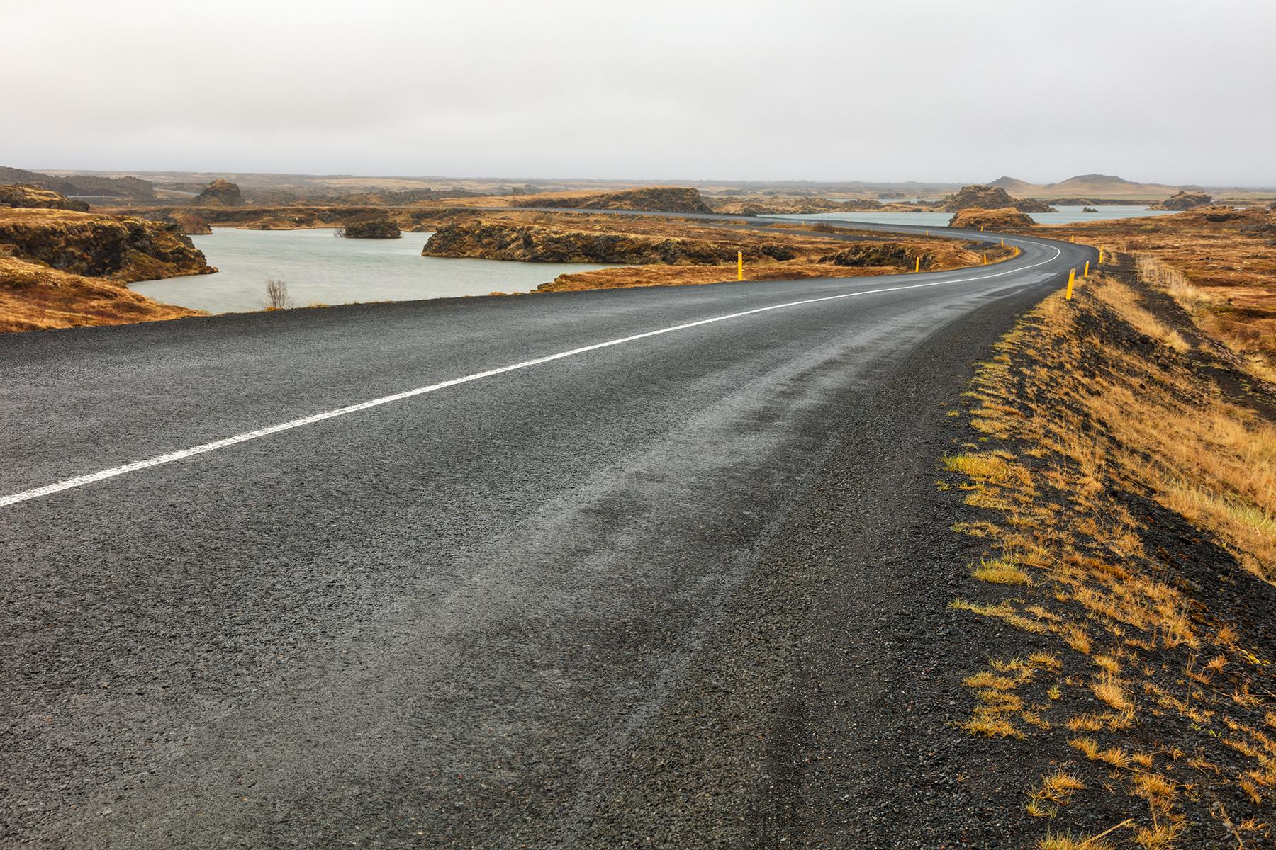 Winding Iceland Road - Hofdi, Asphalt, Ponds, Rural, Rugged, HQ Photo