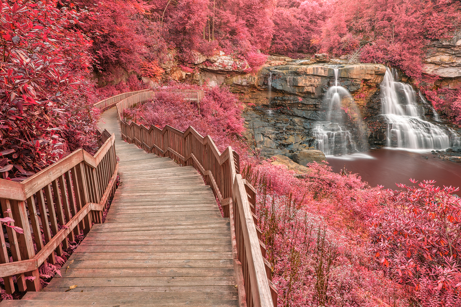 Winding pink fantasy falls - hdr photo