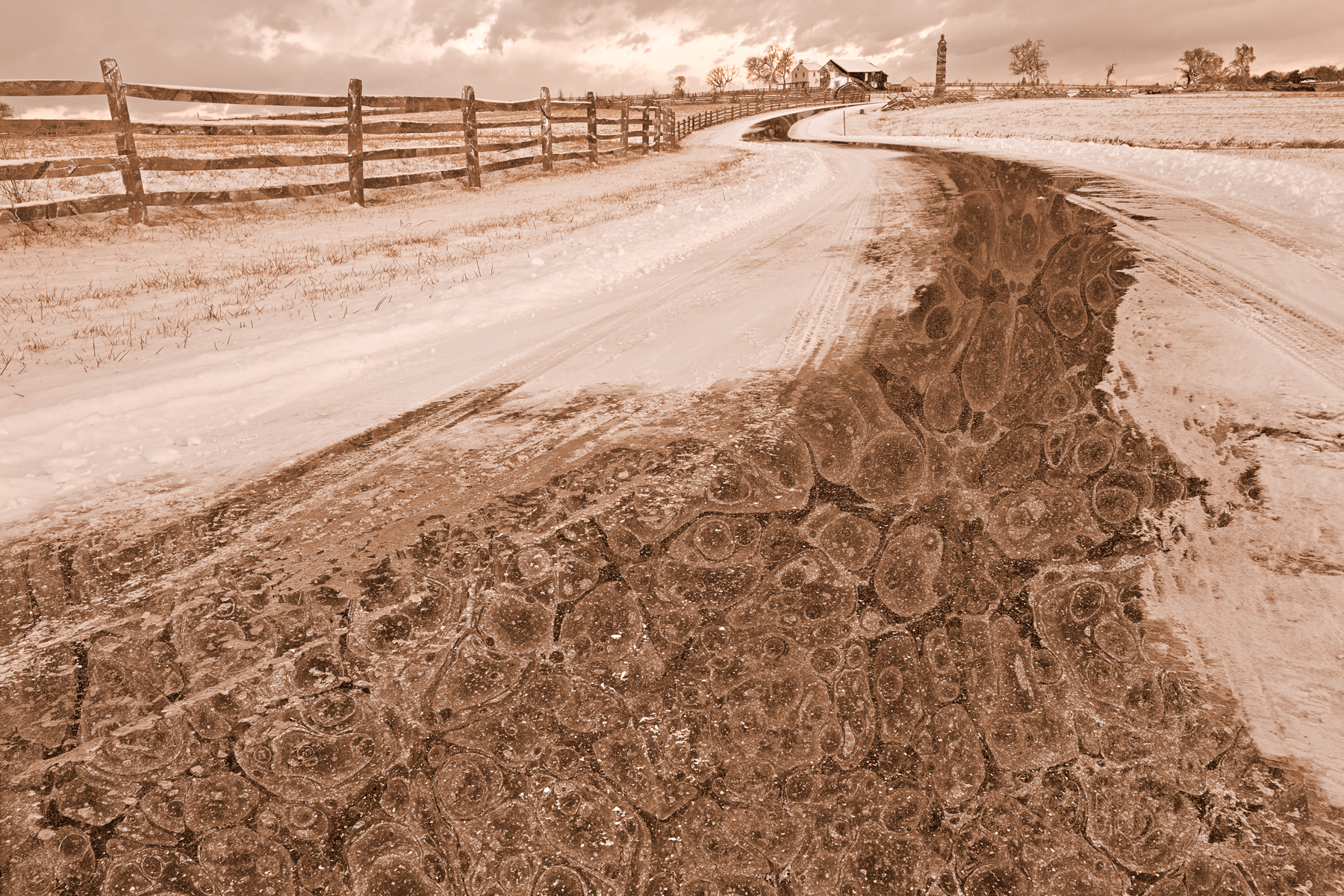 Winding Winter Road - Sepia Nostalgia, Abstract, Outdoors, Rural, Route, HQ Photo
