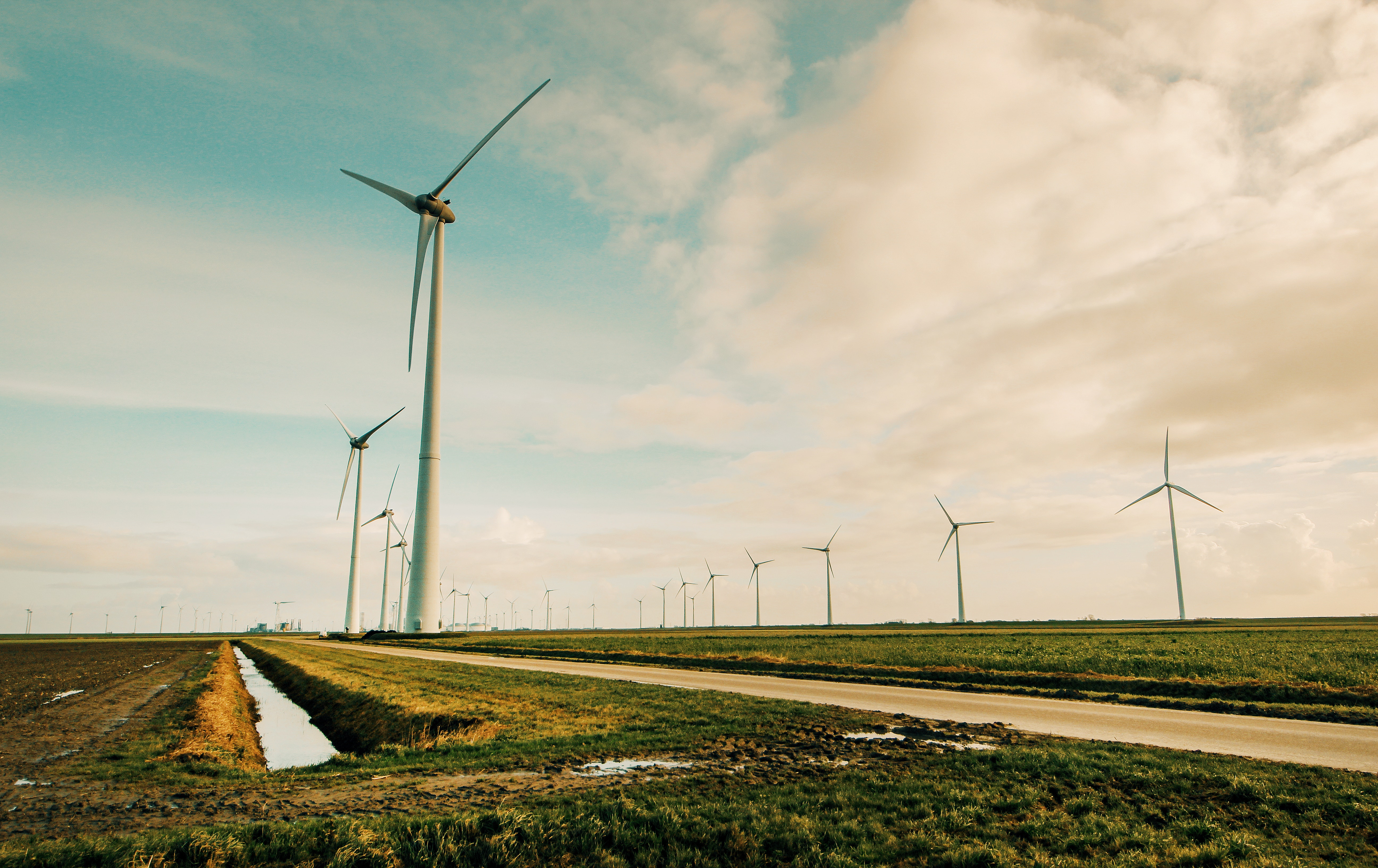 Windmill Energy on Green Grass Field, Road, Rotation, Renewable energy, Propellers, HQ Photo