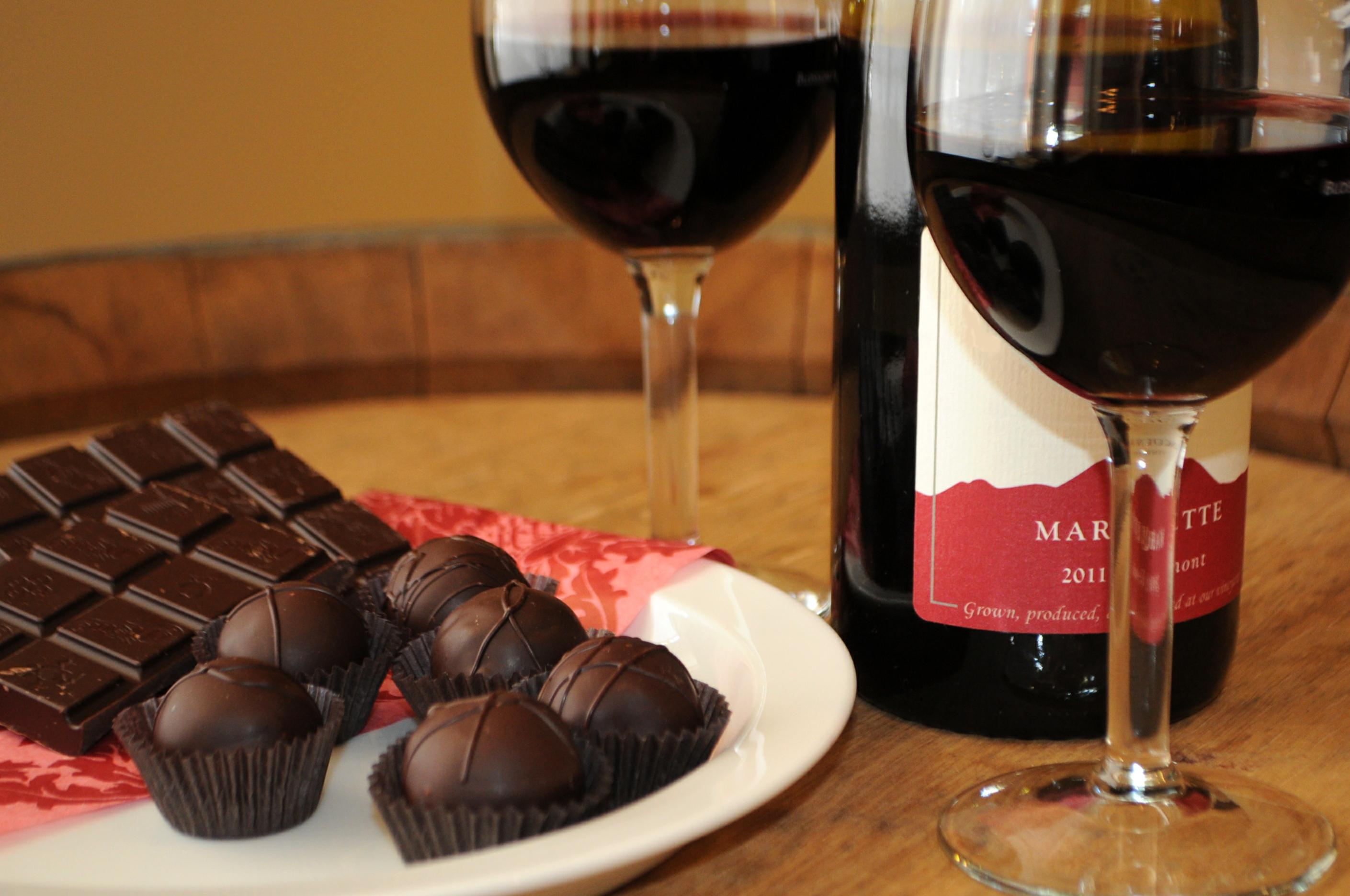 Wine and chocolate photo