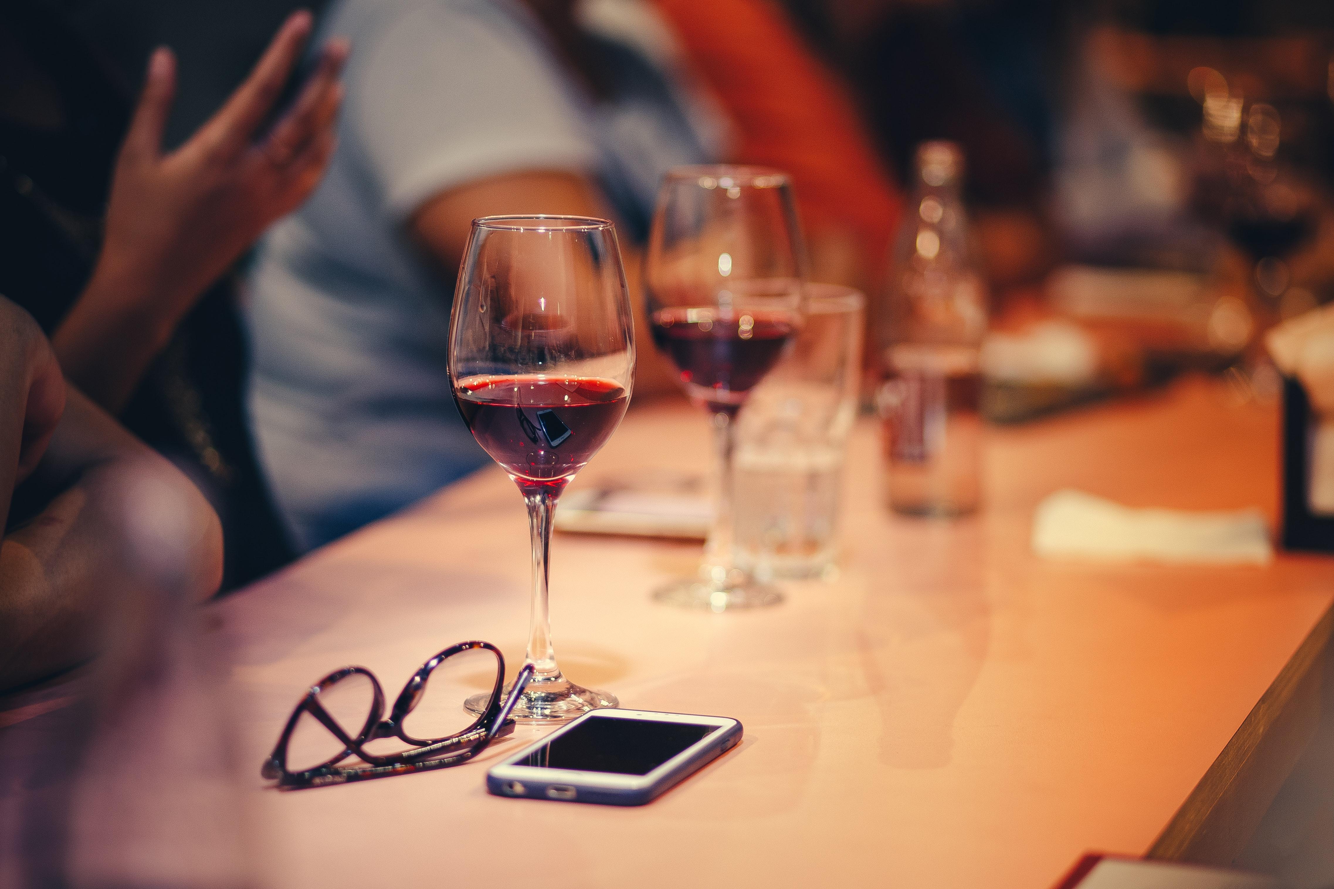 Wine glasses on table photo