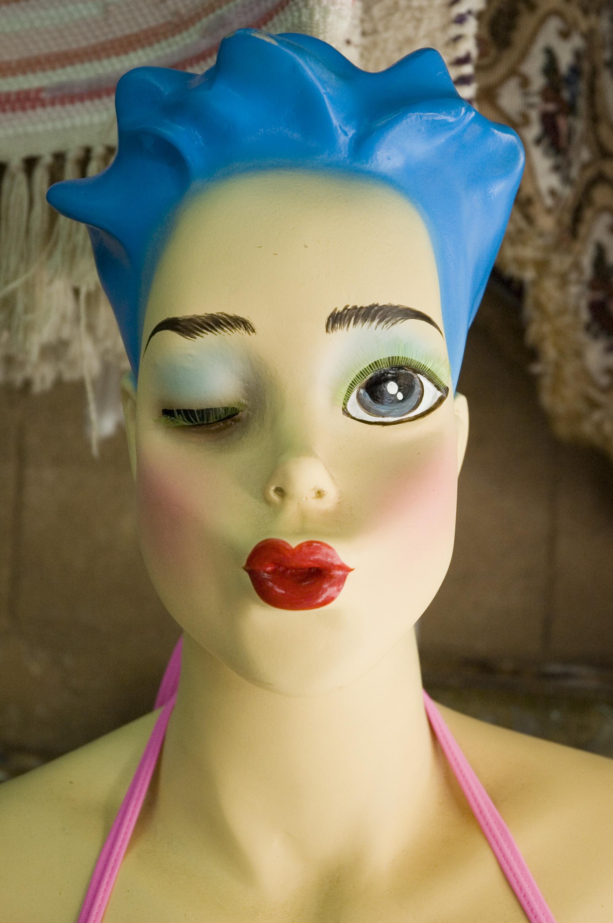 wink, Blue, Female, Head, Kiss, HQ Photo