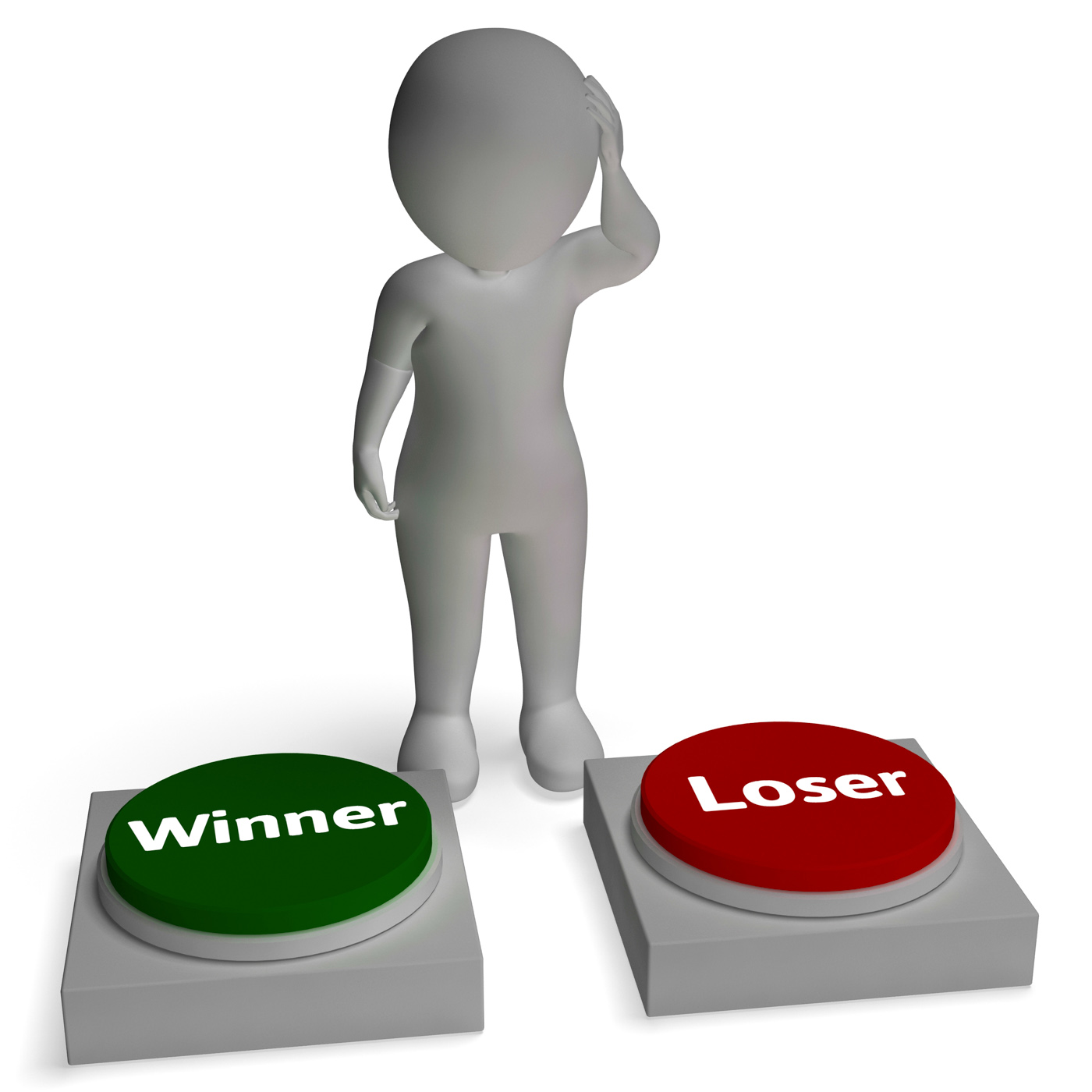 Winner loser buttons shows winning or losing photo