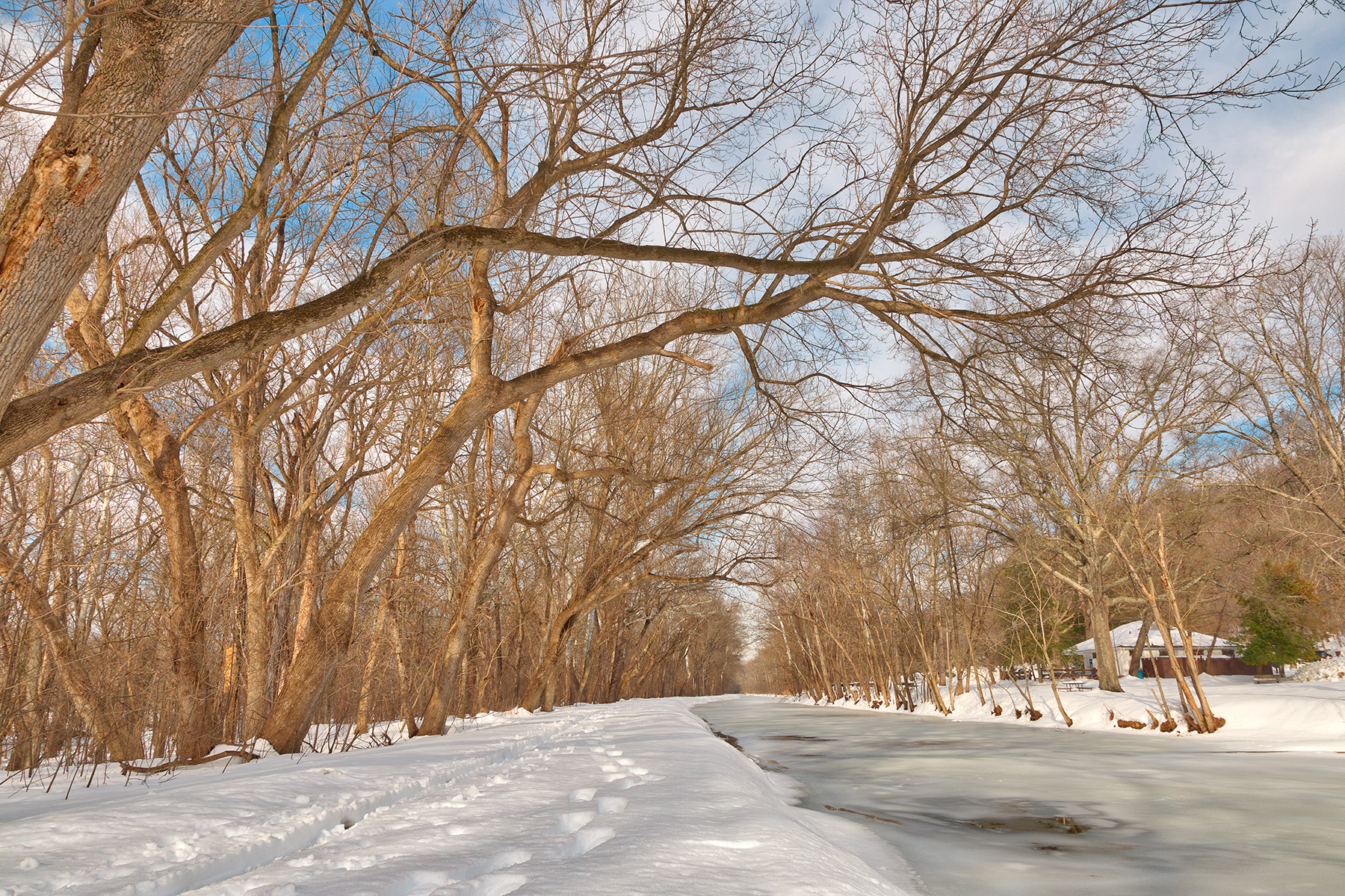 Winter canal trail - hdr photo