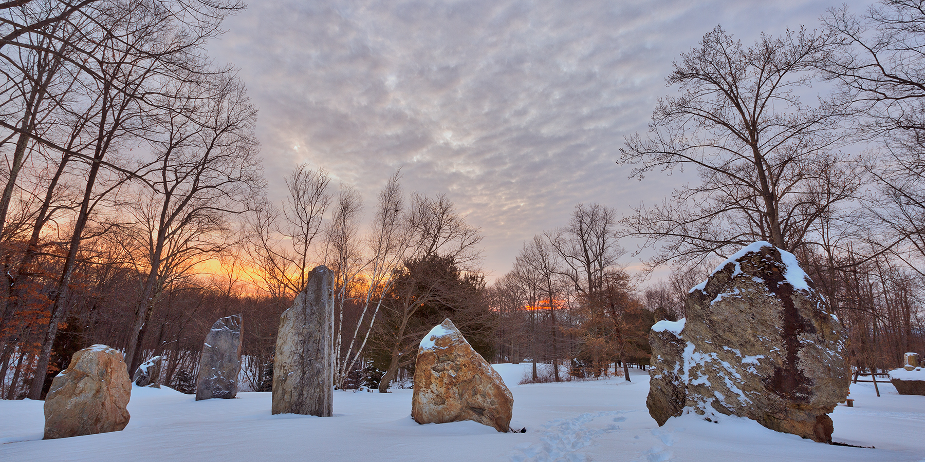 Winter dawn megaliths - hdr photo
