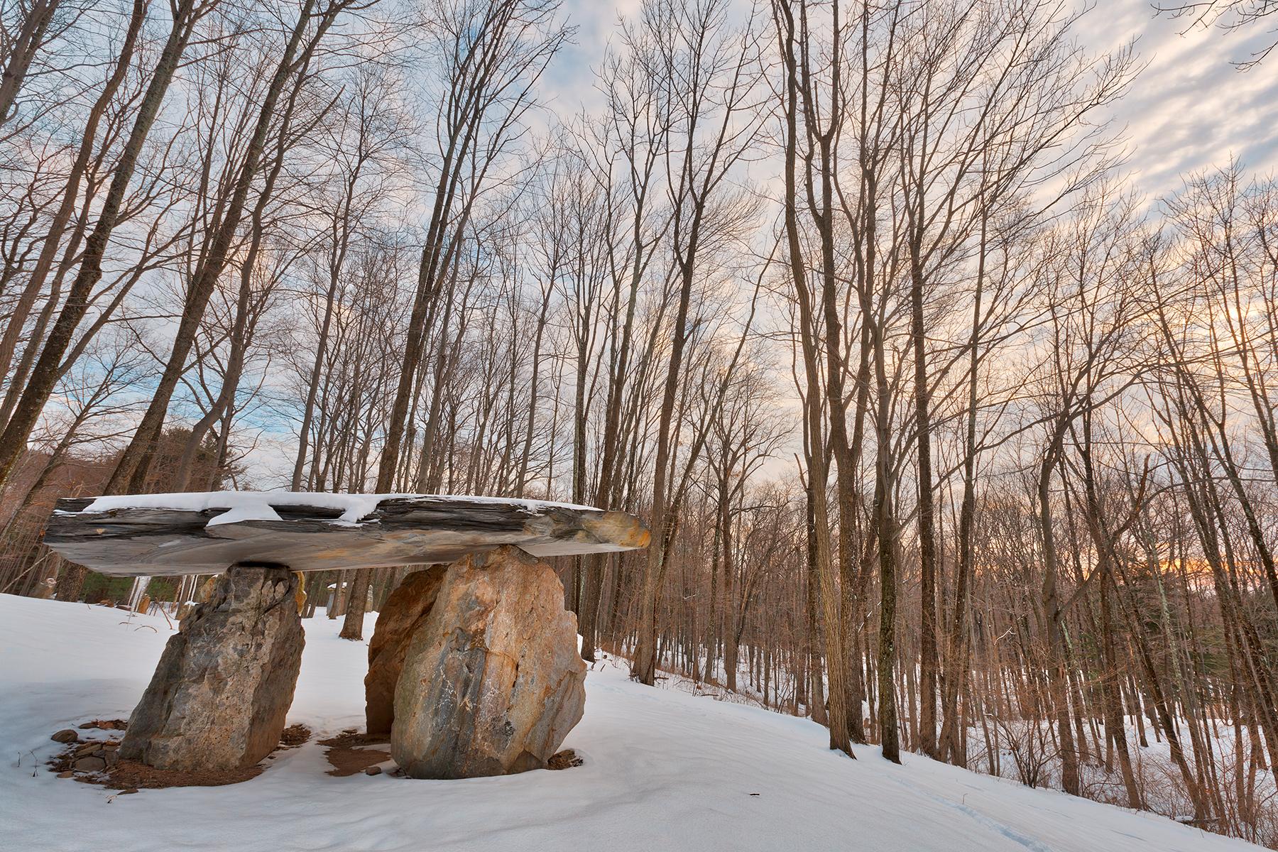 Winter dolmen forest - hdr photo