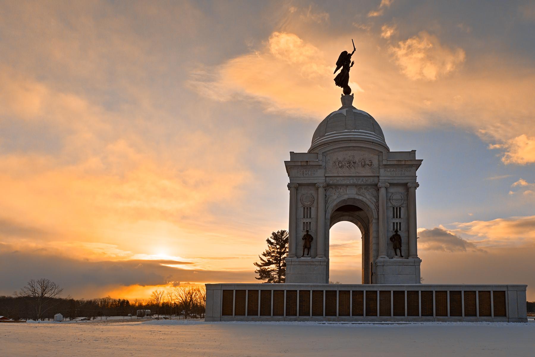 Winter gettysburg sunrise - hdr photo