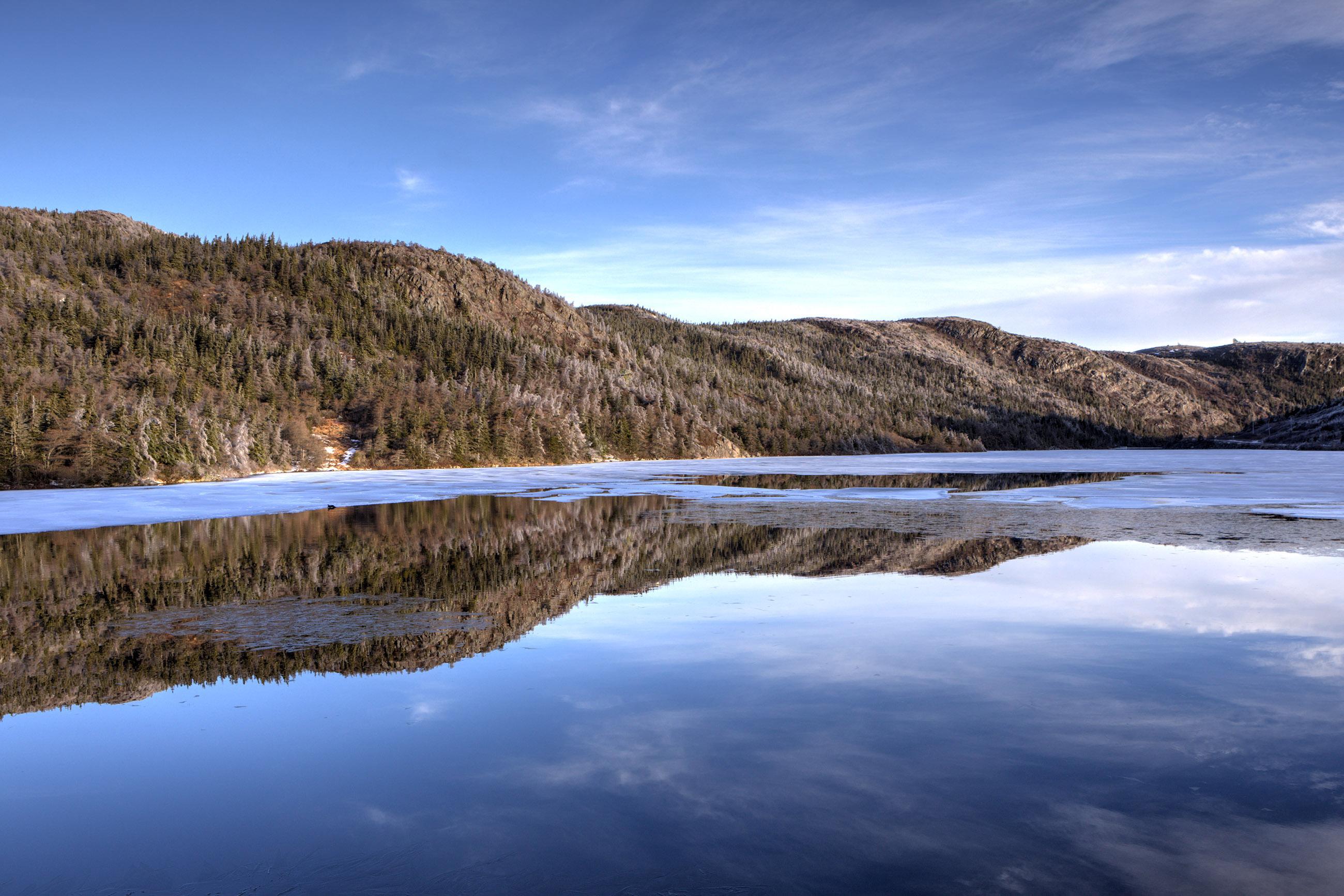 Winter lake reflection photo