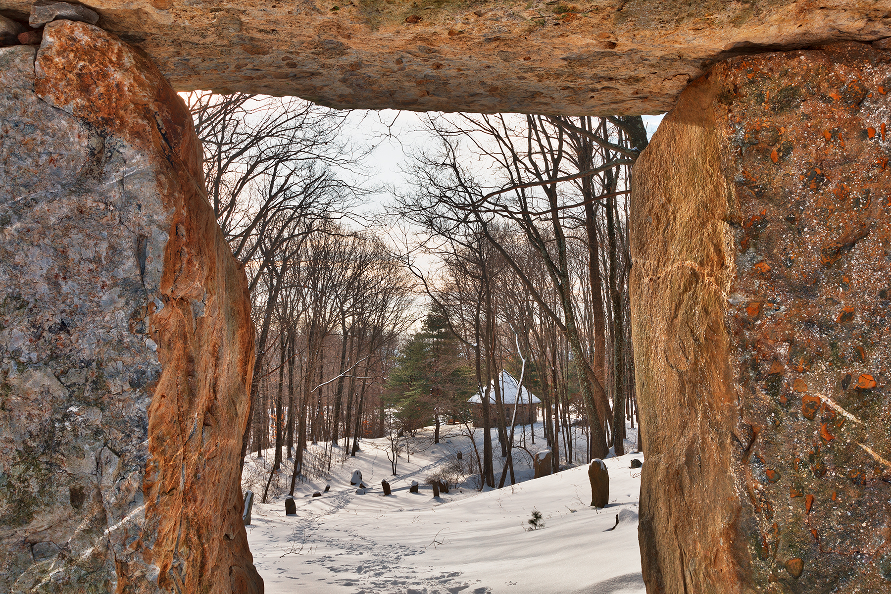 Winter megalith frame - hdr photo