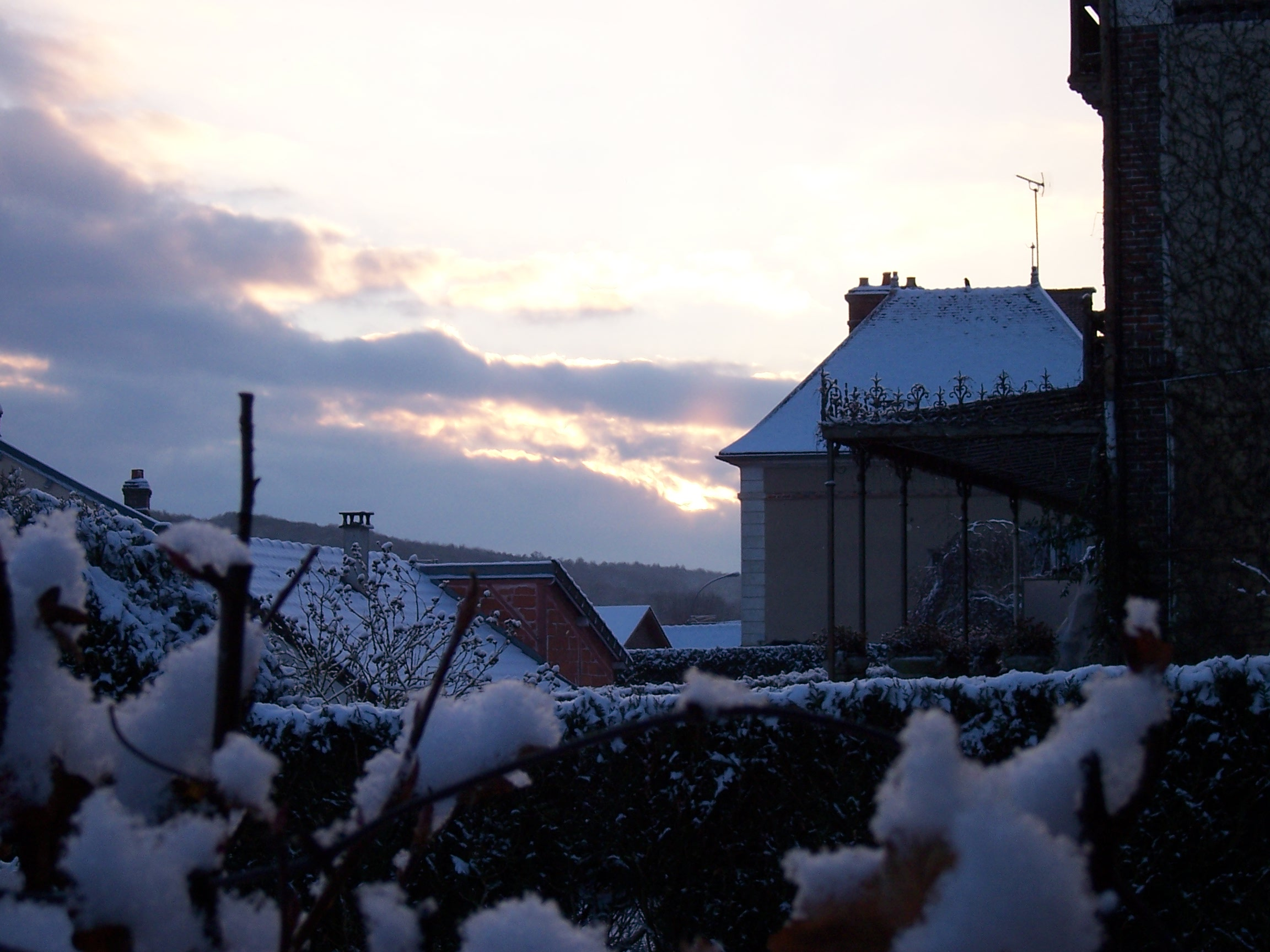 Winter morning, Homes, Houses, Morning, Snow, HQ Photo